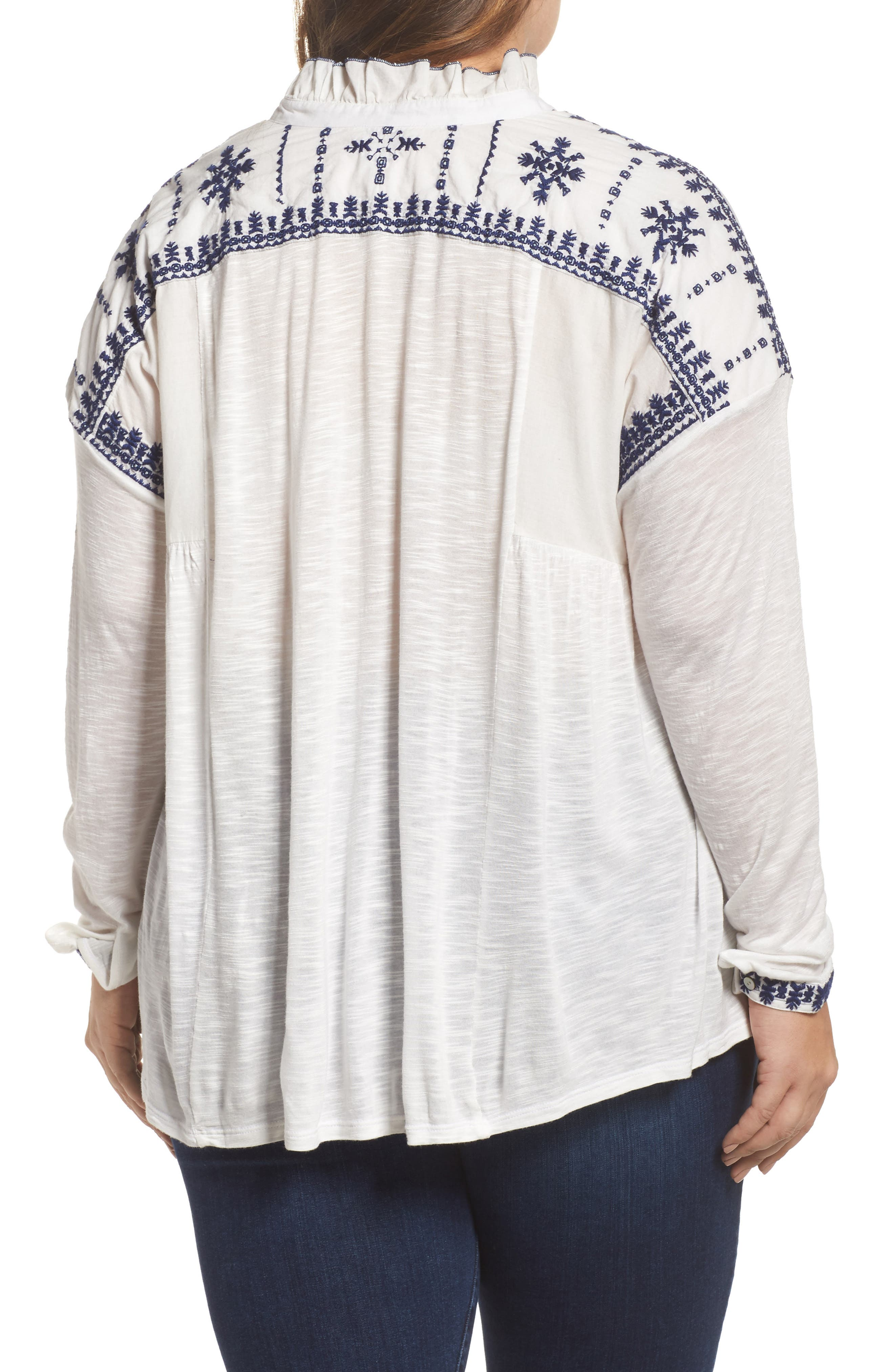 Alternate Image 2  - Lucky Brand Embroidered Mixed Media Top (Plus Size)