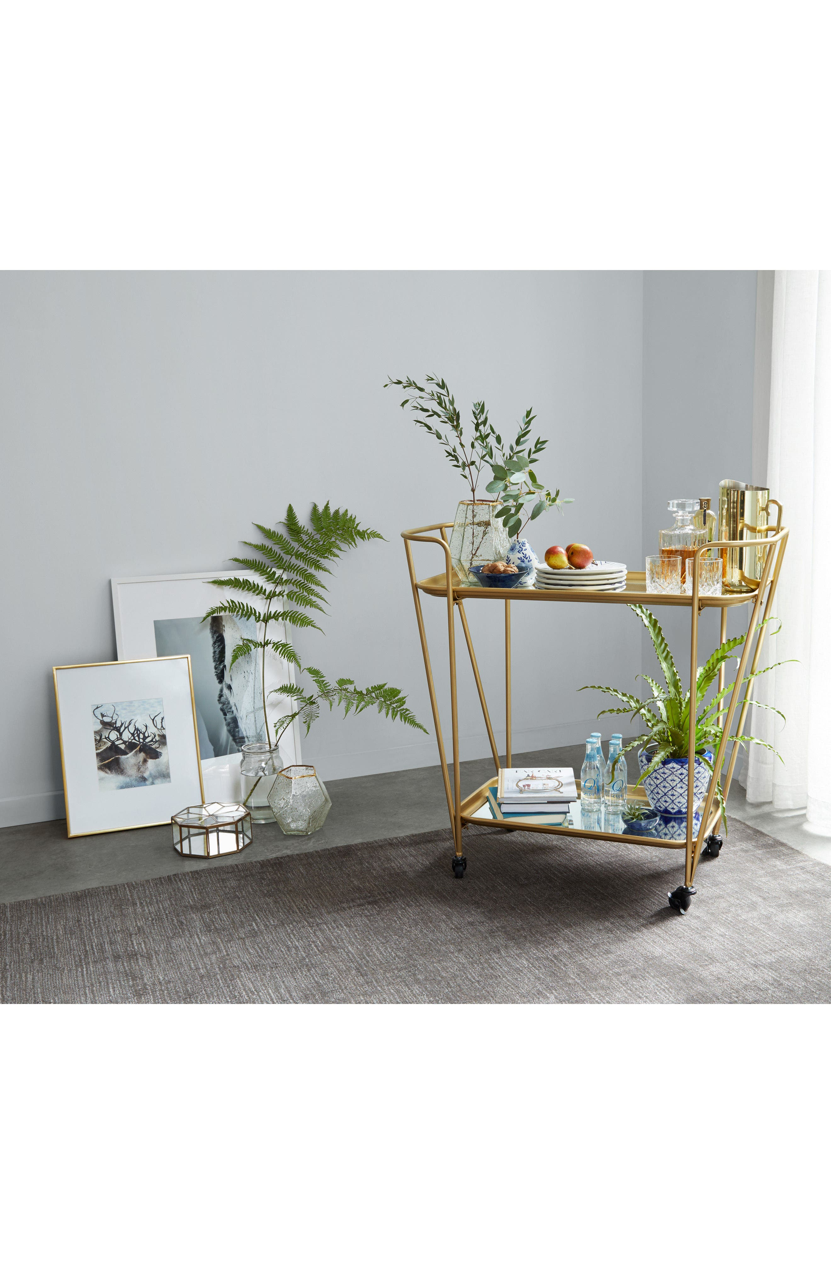 Alternate Image 3  - E2 CONCEPTS Metal Mirrored Rolling Bar Cart