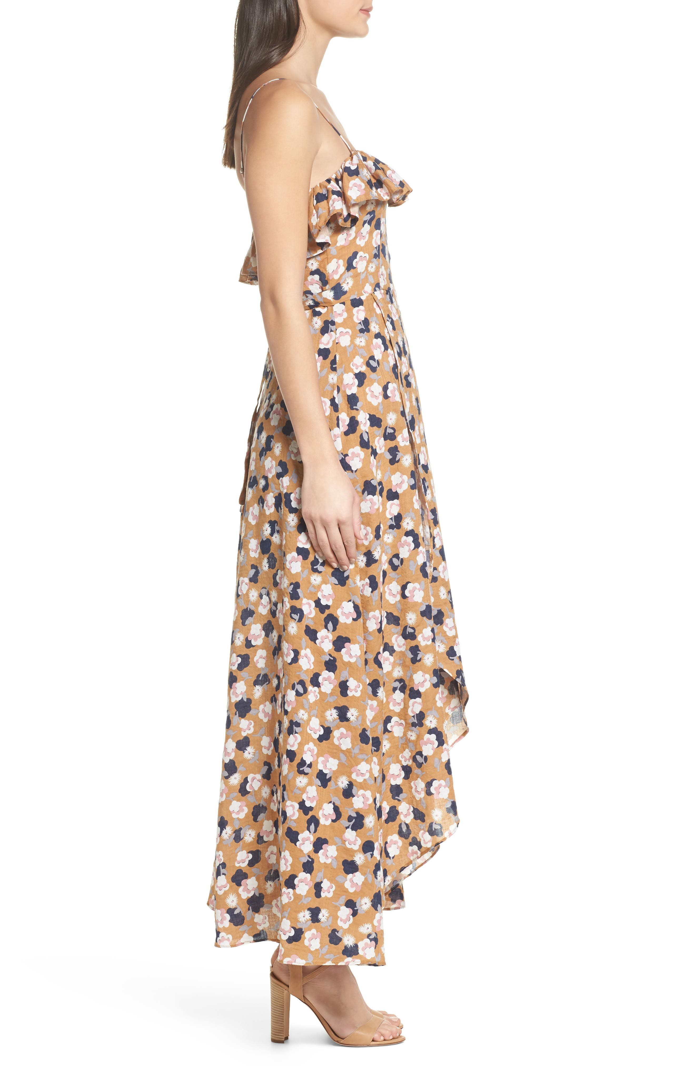 Floral Maxi Dress,                             Alternate thumbnail 3, color,                             Mustard