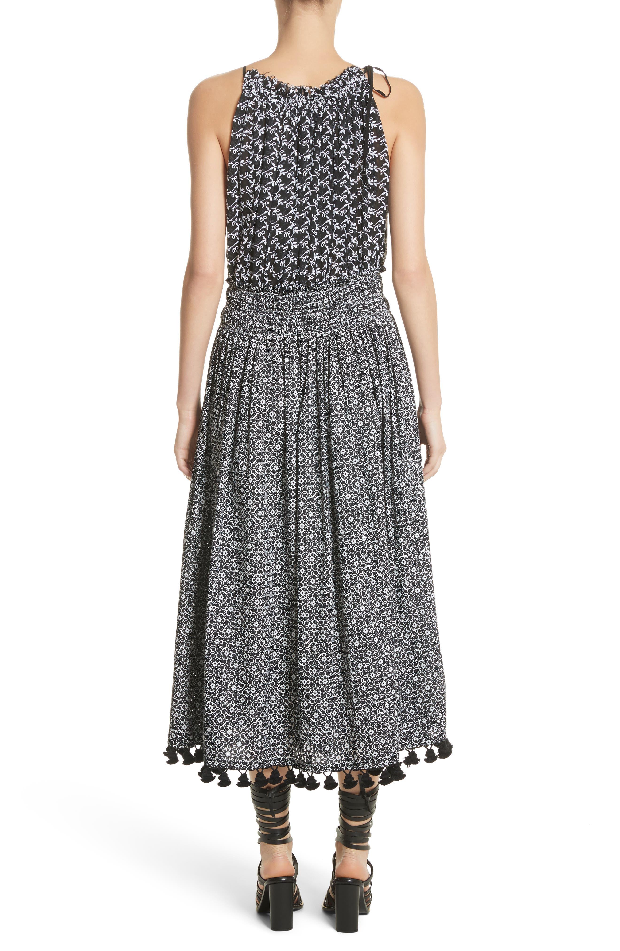 Pompom Trim Smock Waist Dress,                             Alternate thumbnail 3, color,                             Black