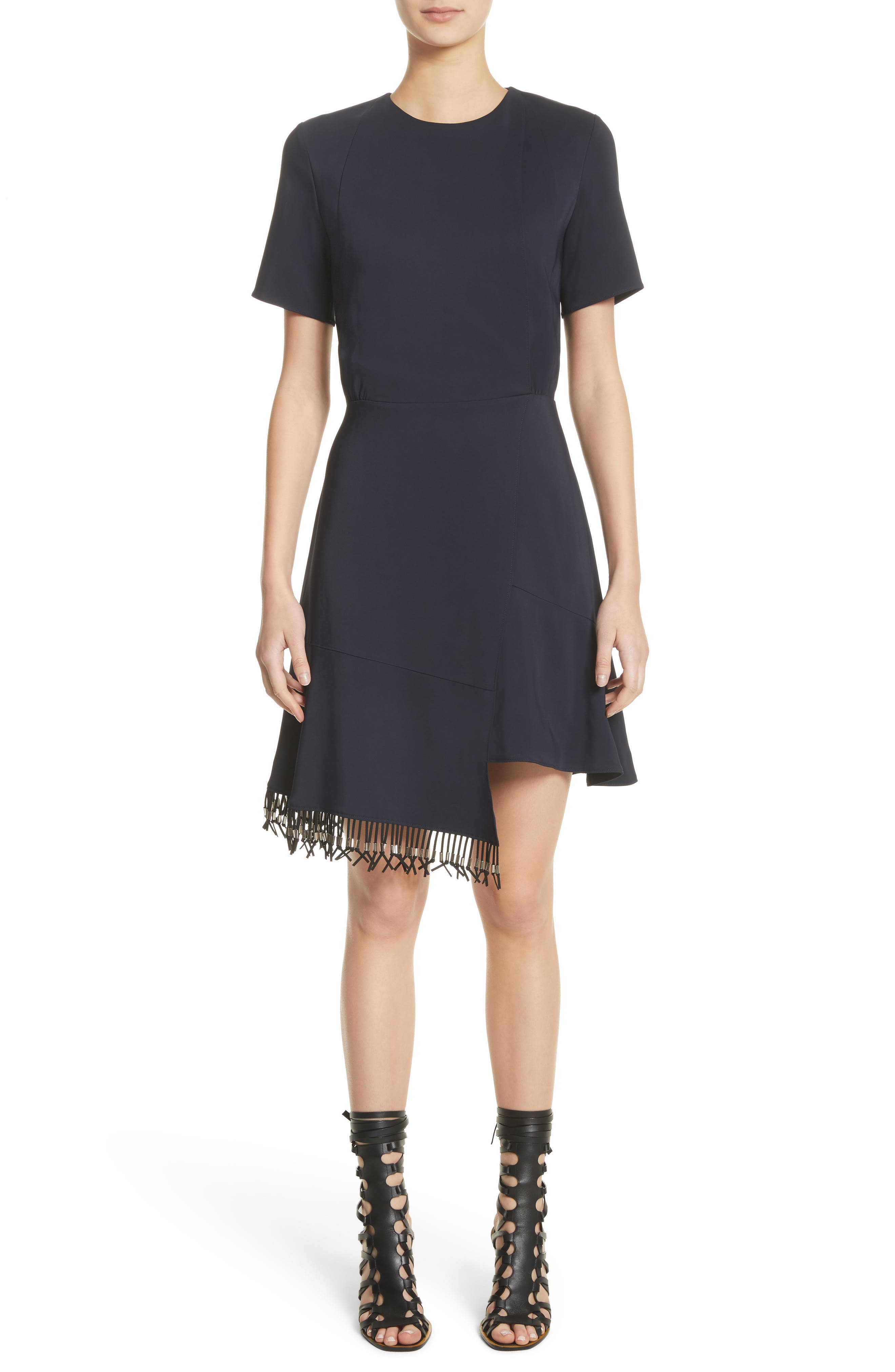 Asymmetrical Fringe Hem Dress,                         Main,                         color, Navy