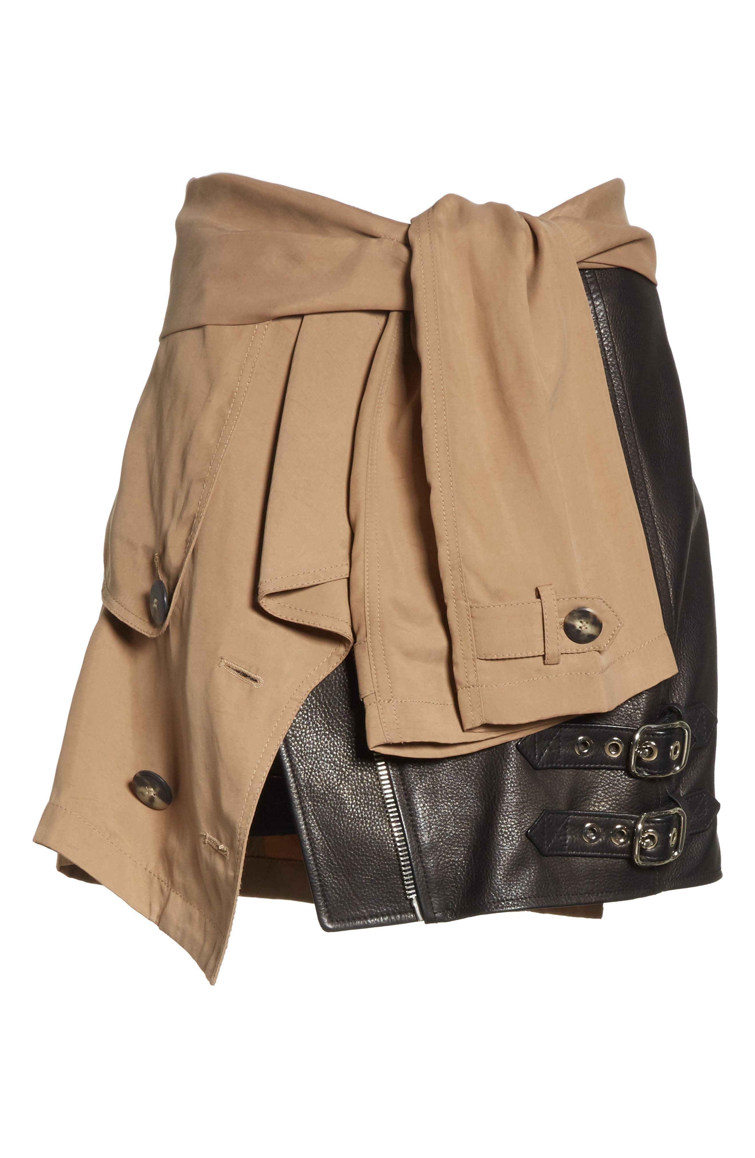 Trench Combo Leather Miniskirt,                             Alternate thumbnail 6, color,                             Sable