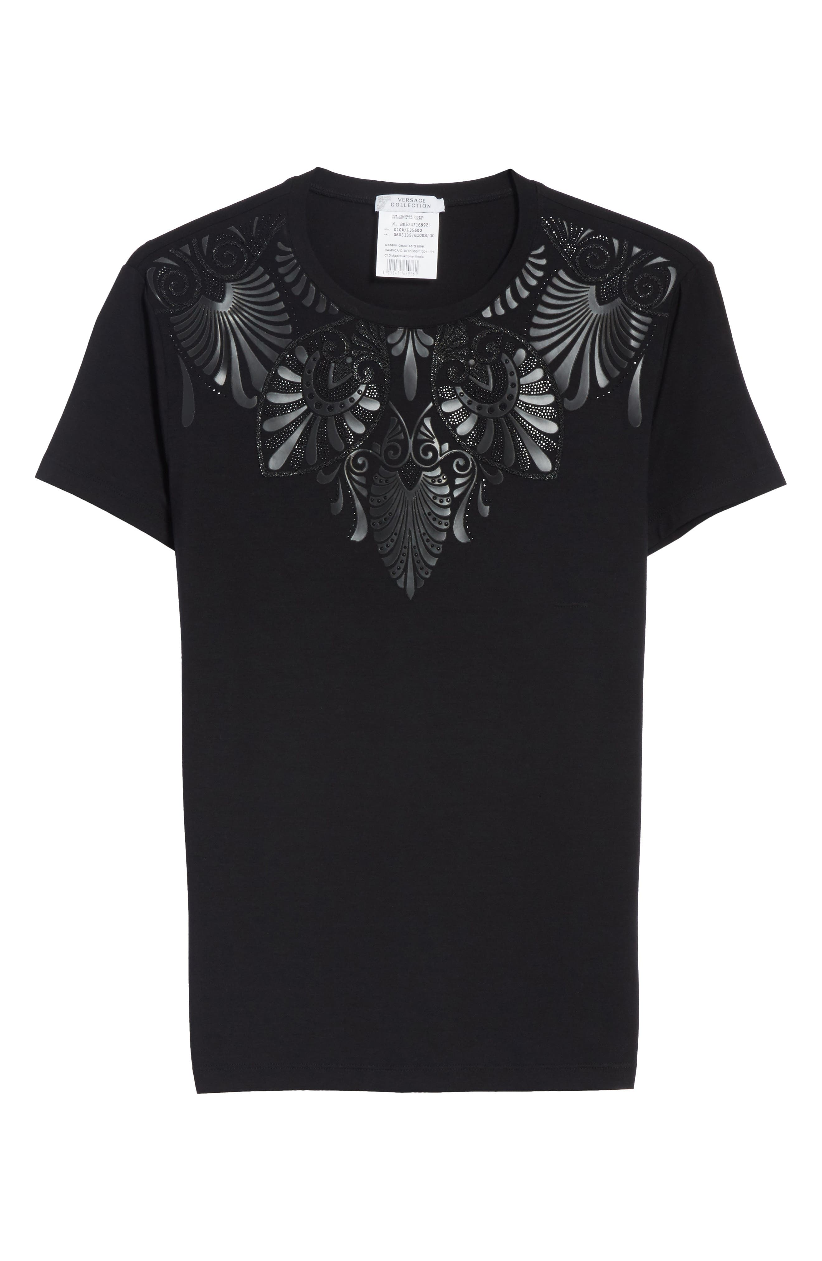 Beaded Jersey Tee,                             Alternate thumbnail 6, color,                             Black