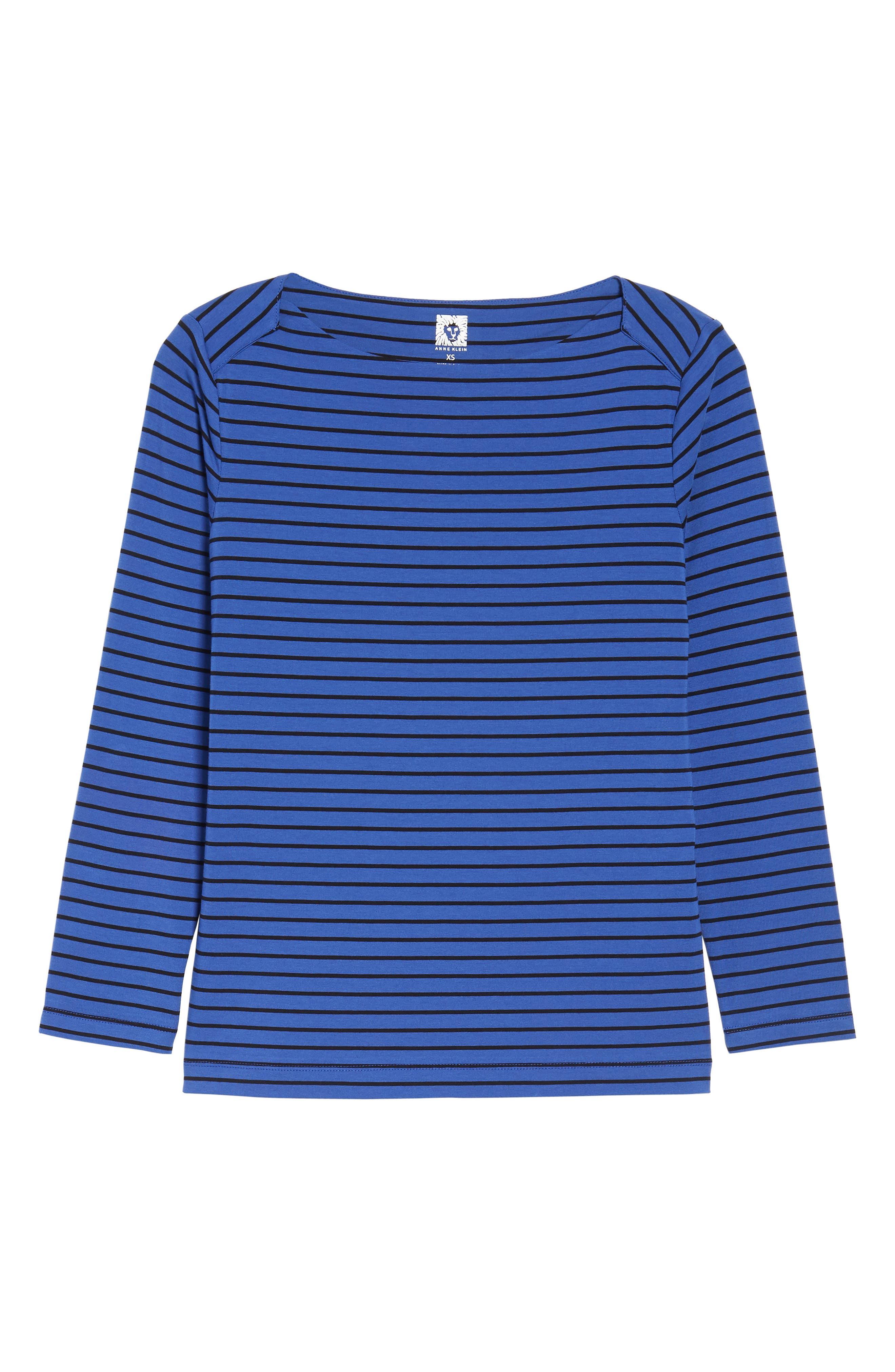 Stripe Knit Boatneck Top,                             Alternate thumbnail 6, color,                             Okeeffe Blue/ Black