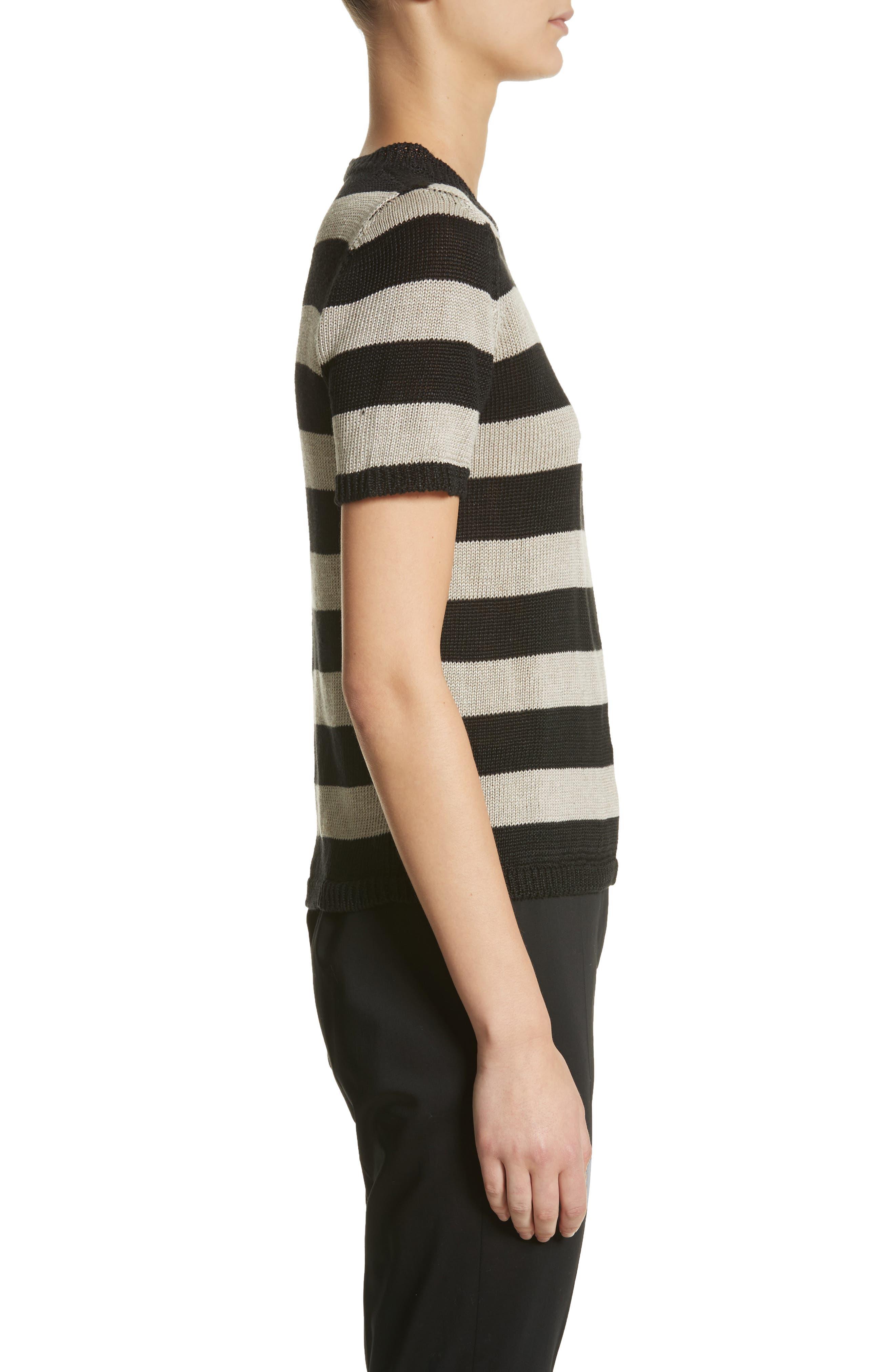 Filly Stripe Linen Sweater,                             Alternate thumbnail 3, color,                             Sand