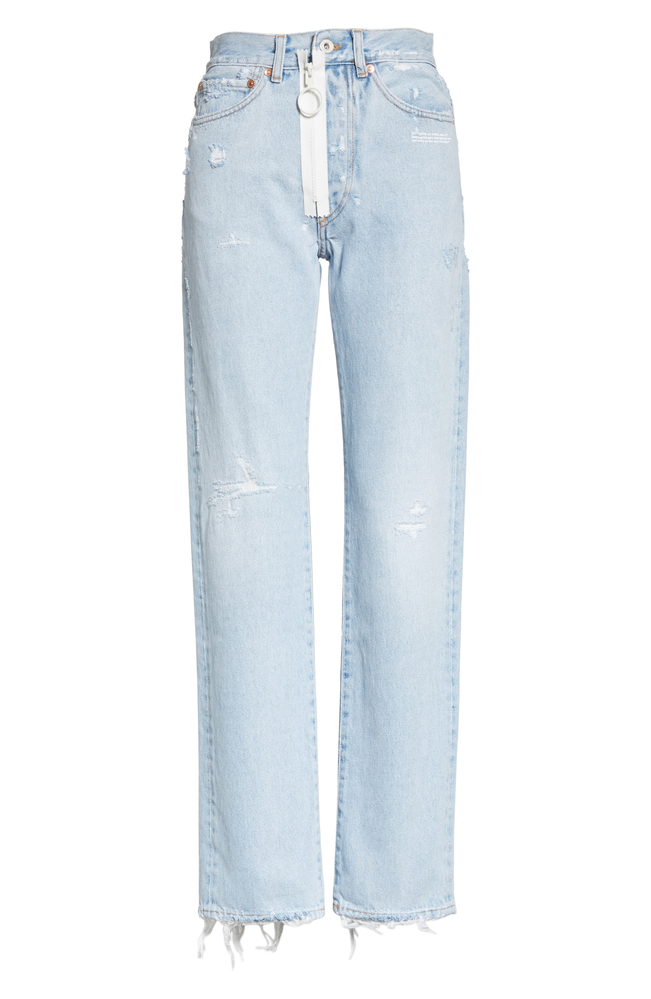 Alternate Image 6  - Off-White Distressed Straight Leg Jeans (Bleach/White)