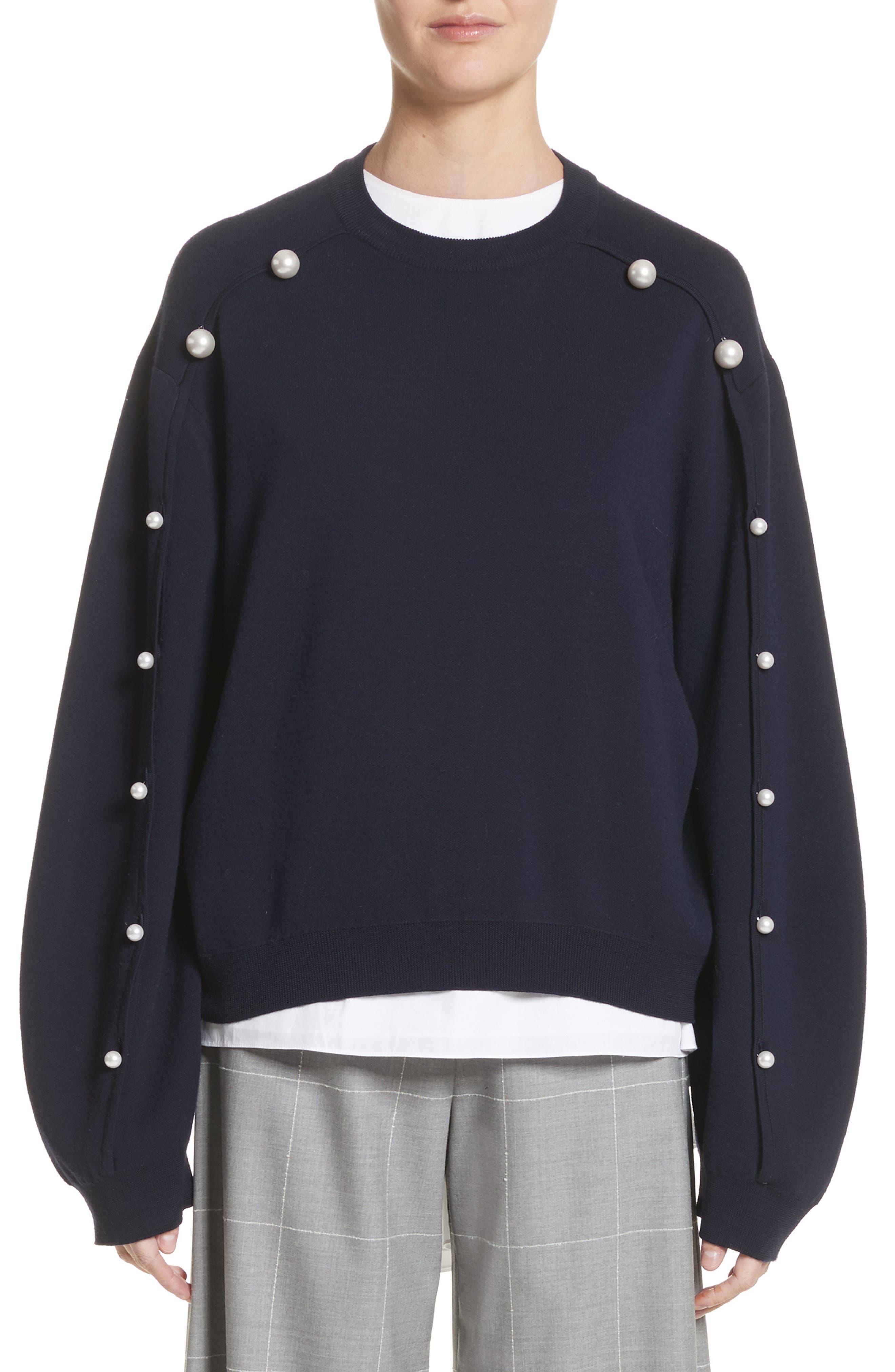 Imitation Pearl Sleeve Merino Wool Sweater,                             Main thumbnail 1, color,                             Navy/ Black