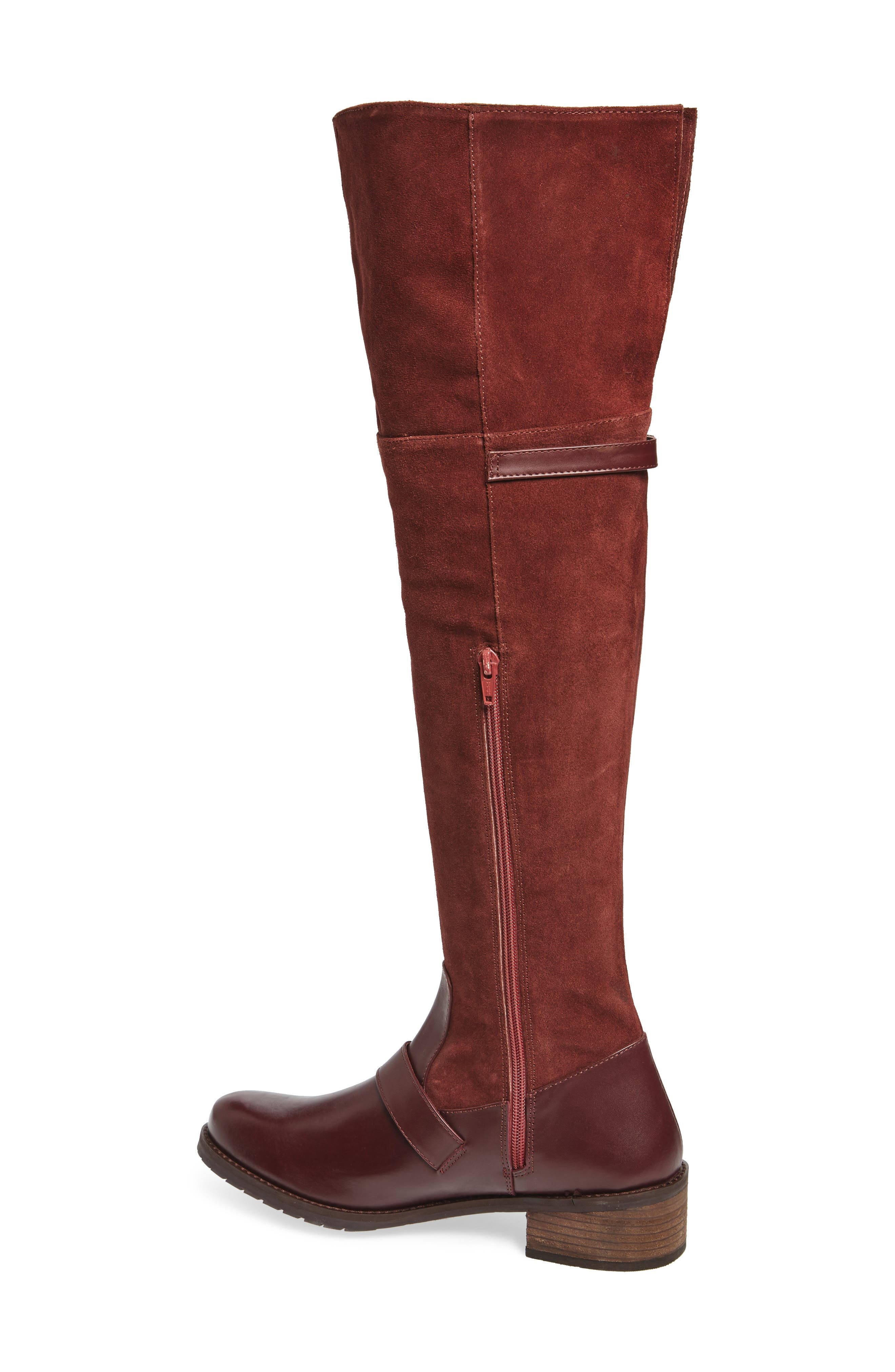 Lola Over the Knee Boot,                             Alternate thumbnail 2, color,                             Wine Suede