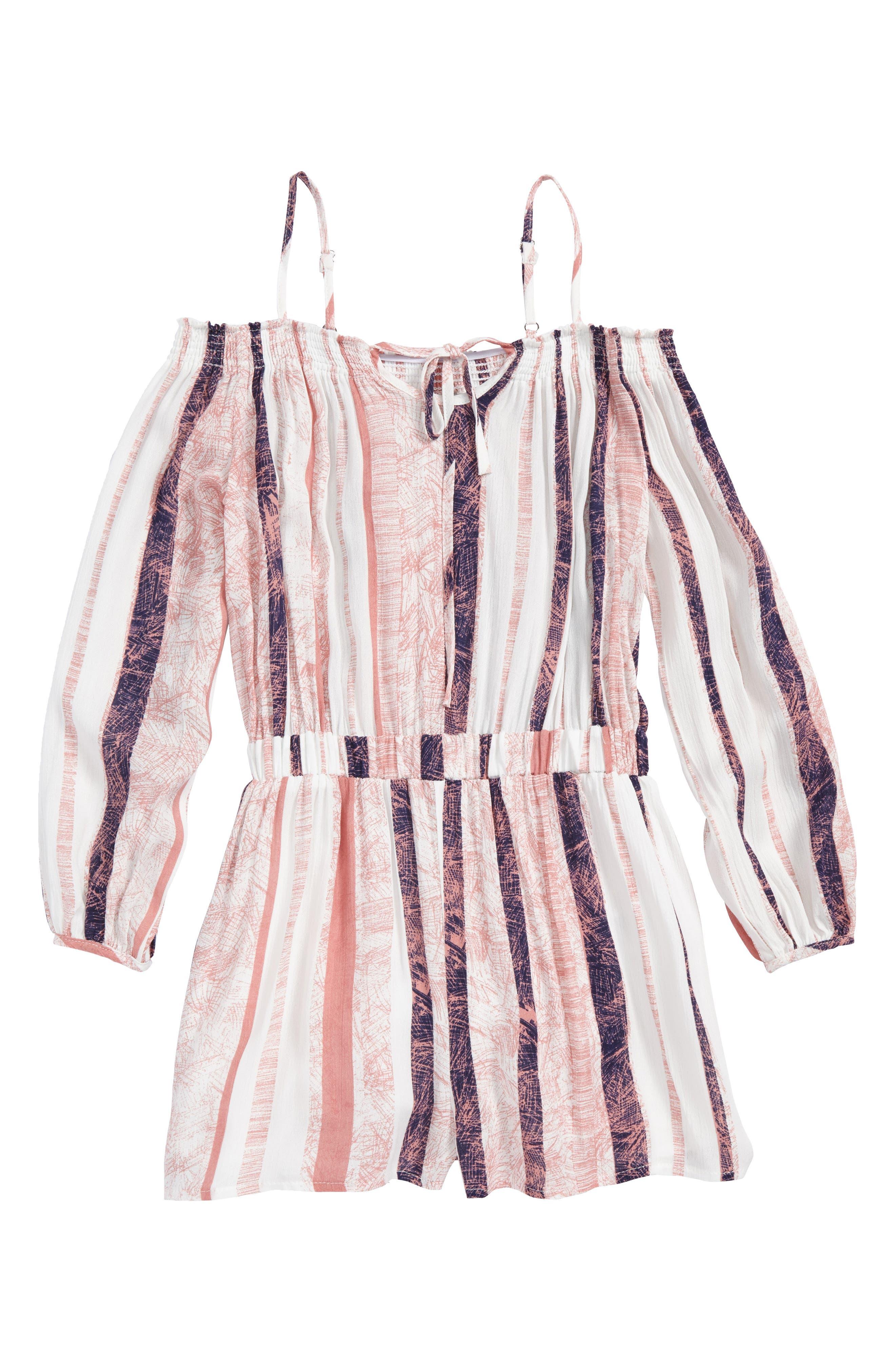Stripe Off the Shoulder Romper,                             Main thumbnail 1, color,                             Pink Multi
