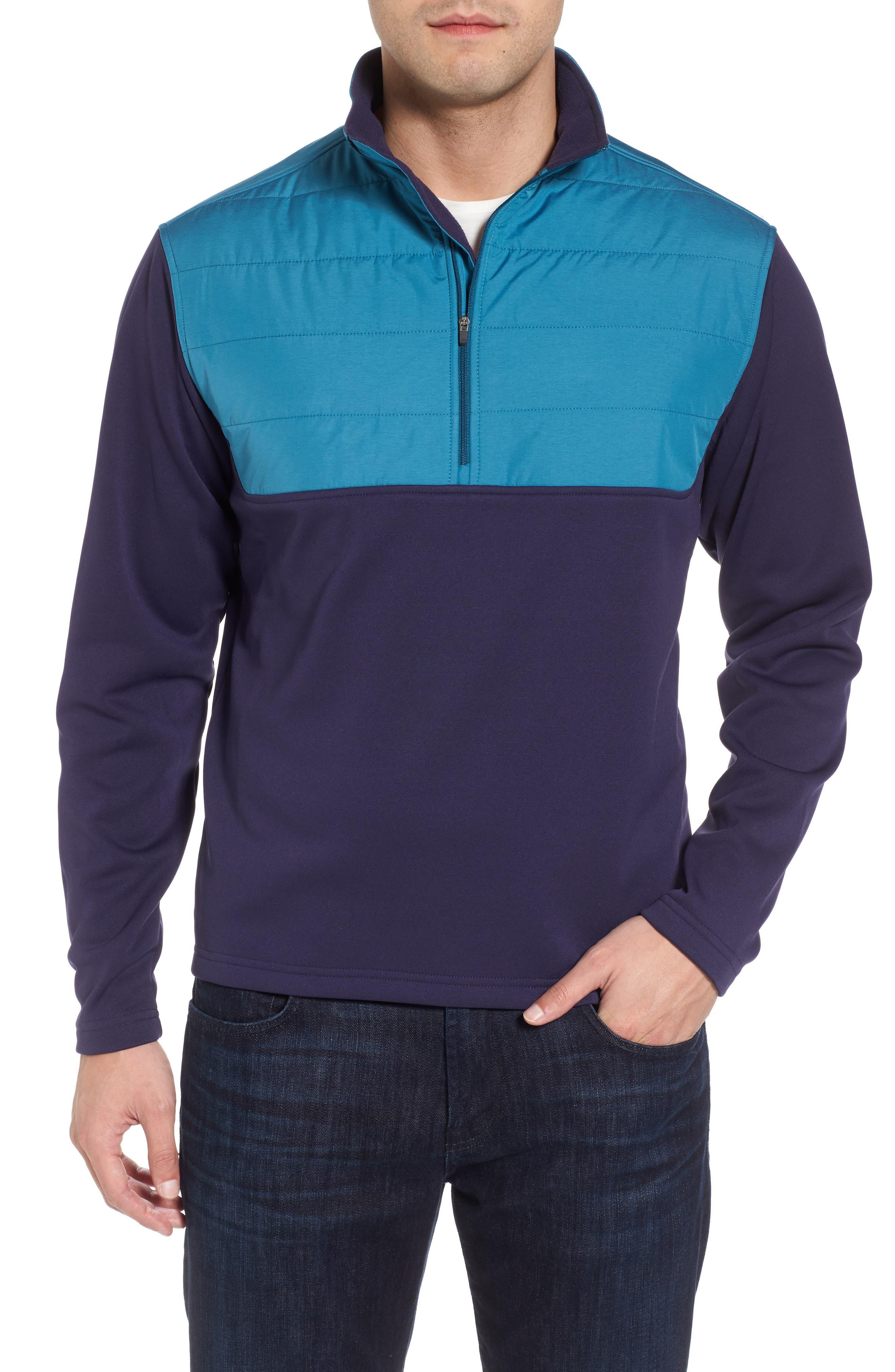 Sheffield Hybrid Half Zip Pullover,                             Main thumbnail 1, color,                             Yankee Blue
