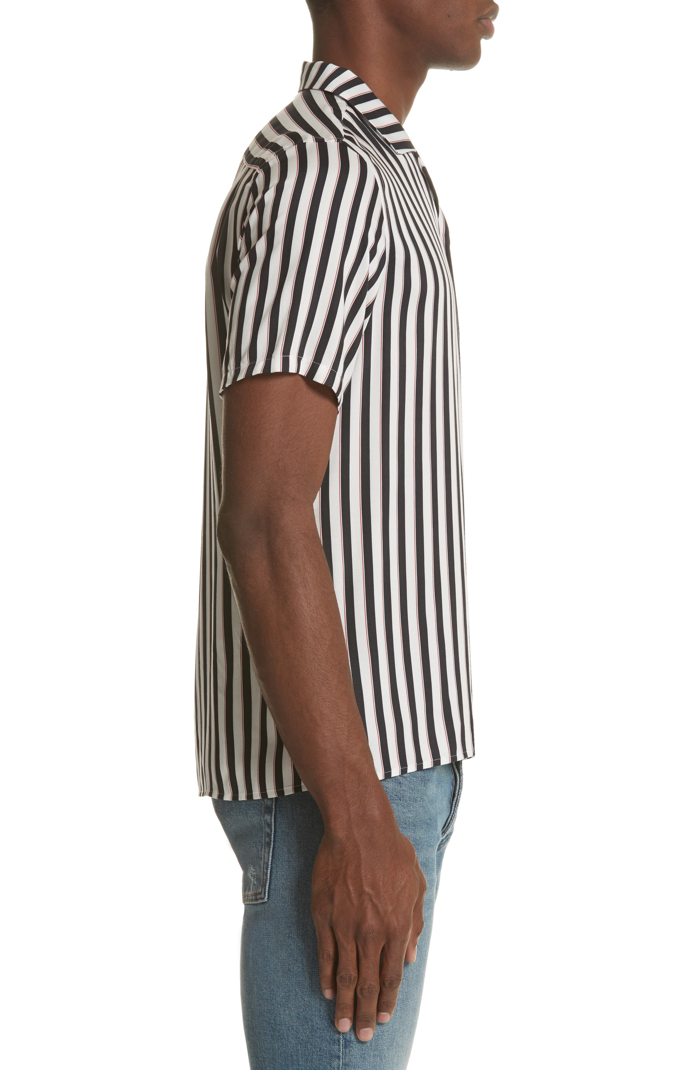 Stripe Camp Shirt,                             Alternate thumbnail 4, color,                             Whi 09