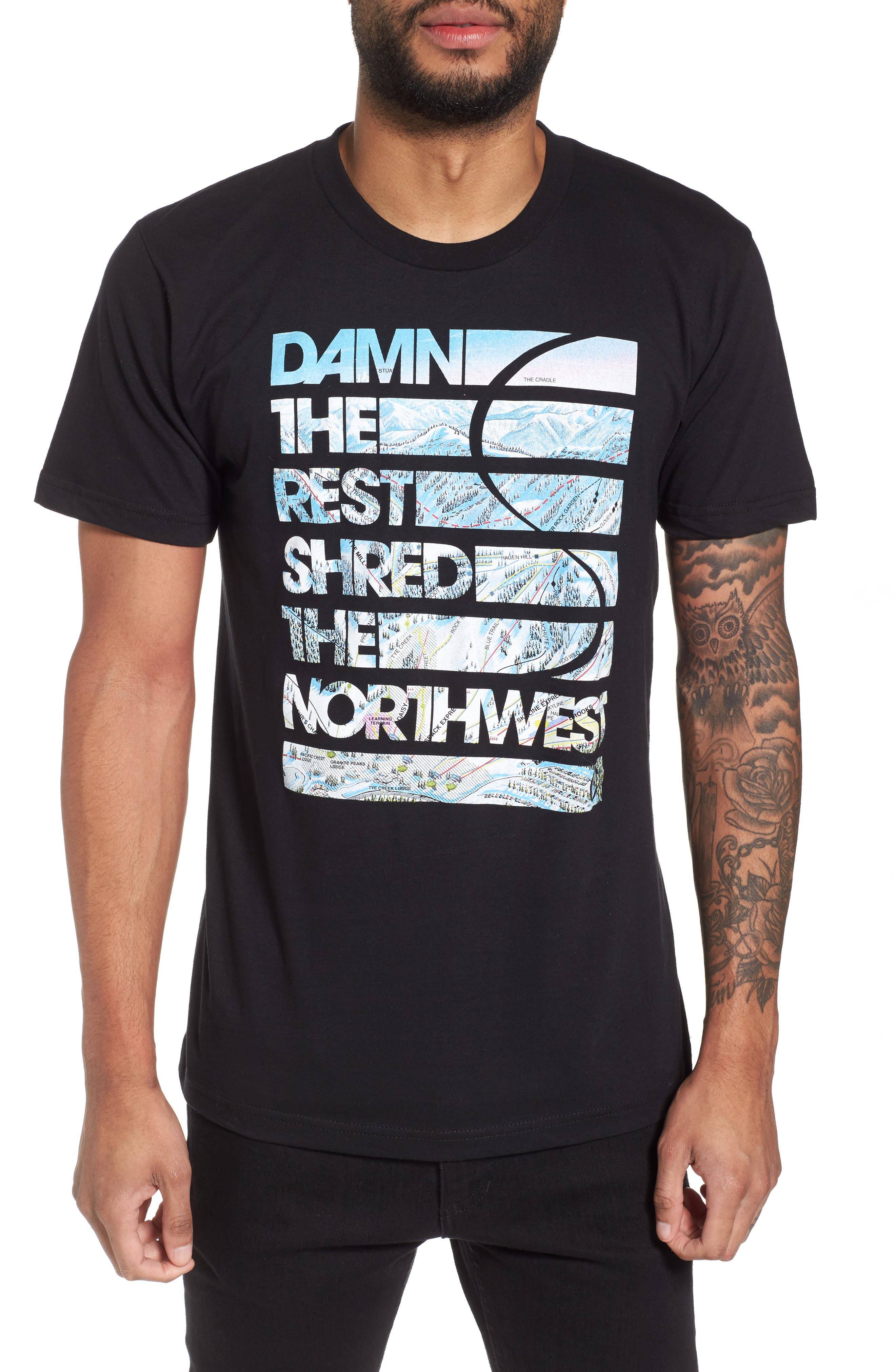 Damn the Rest Trail Map T-Shirt,                         Main,                         color, Black