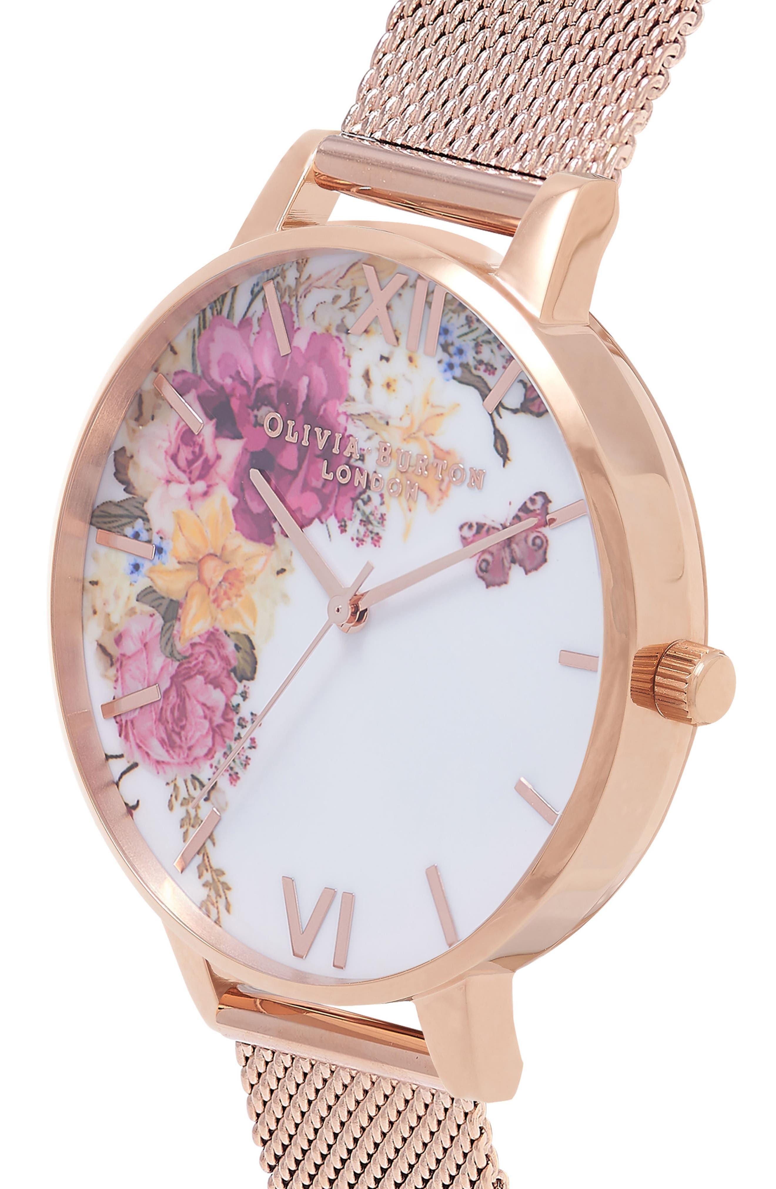 Enchanted Garden Mesh Strap Watch, 38mm,                             Alternate thumbnail 3, color,                             Rose Gold/ White/ Rose Gold