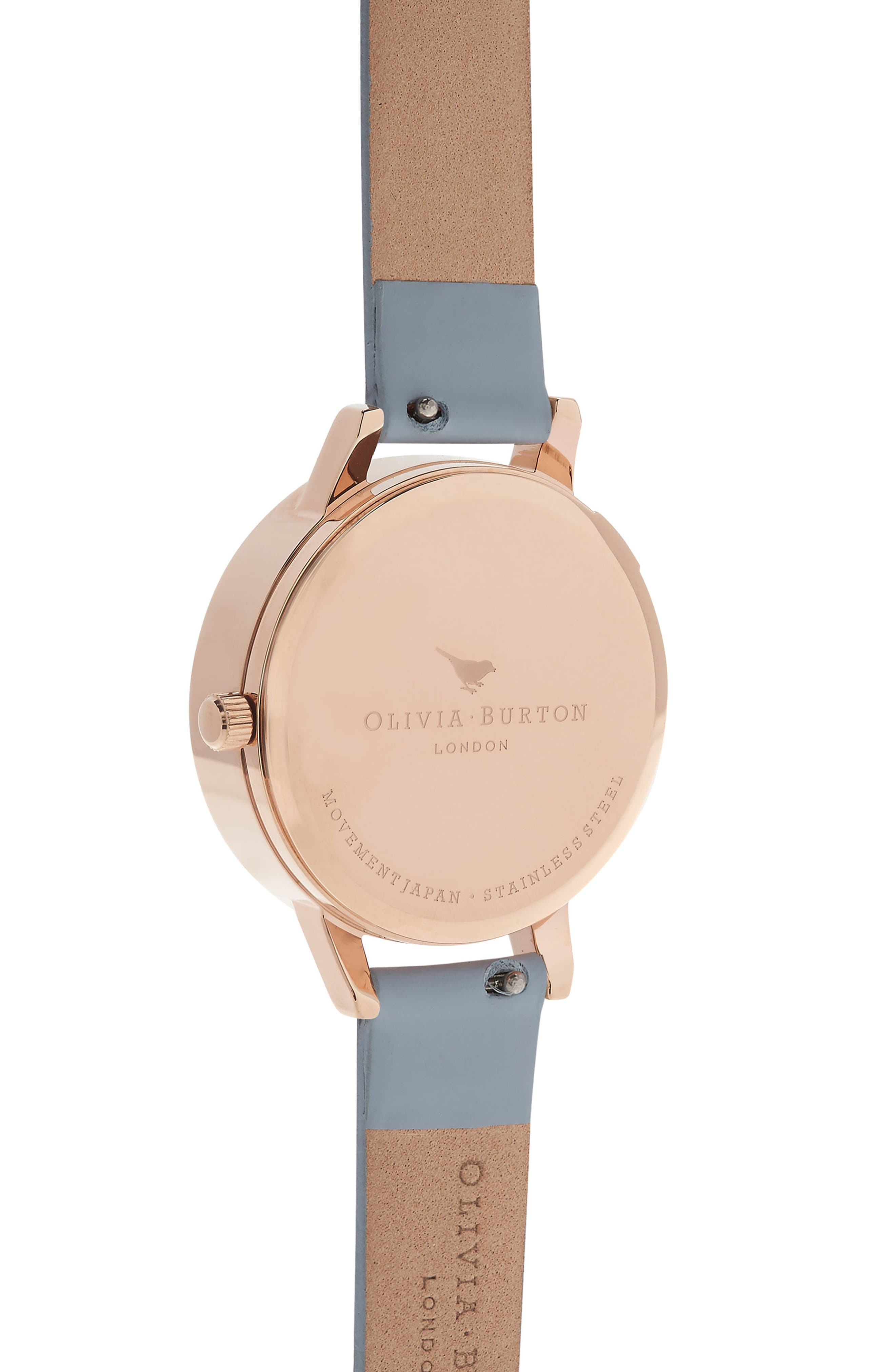 Bejewelled Florals Leather Strap Watch, 30mm,                             Alternate thumbnail 3, color,                             Blue/ Floral/ Rose Gold