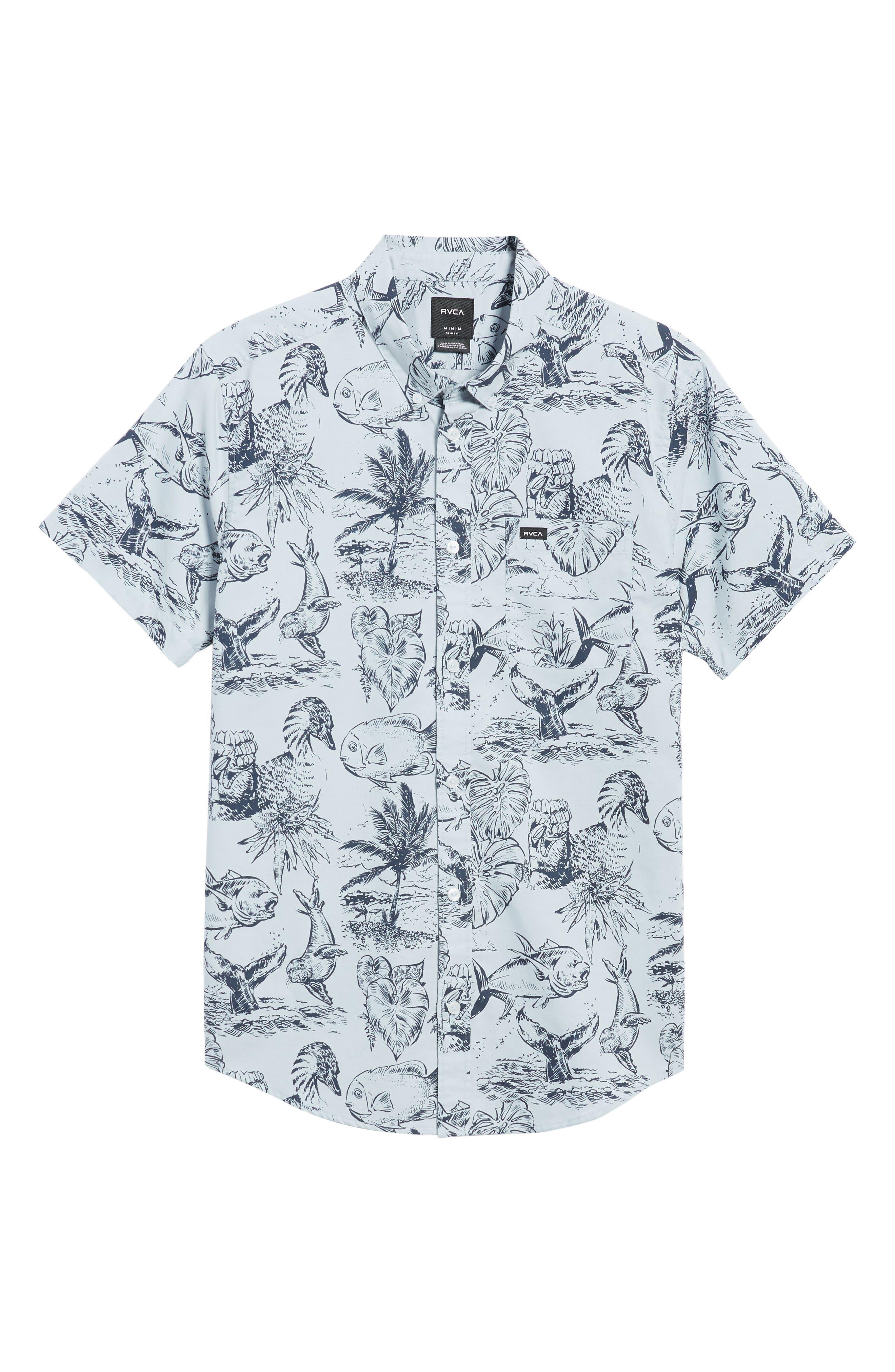 Aloha Woven Shirt,                             Alternate thumbnail 6, color,                             Deja Blue