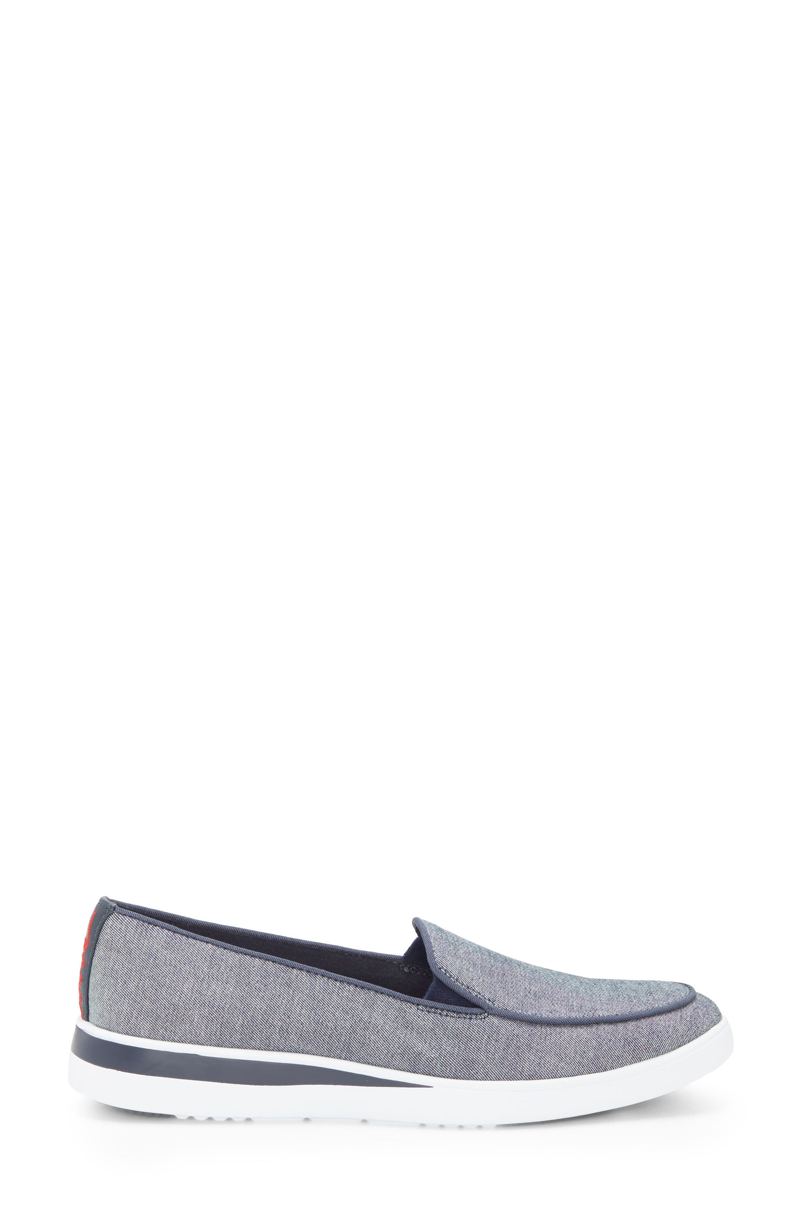 Antona Slip-On Sneaker,                             Alternate thumbnail 3, color,                             Blue Fabric