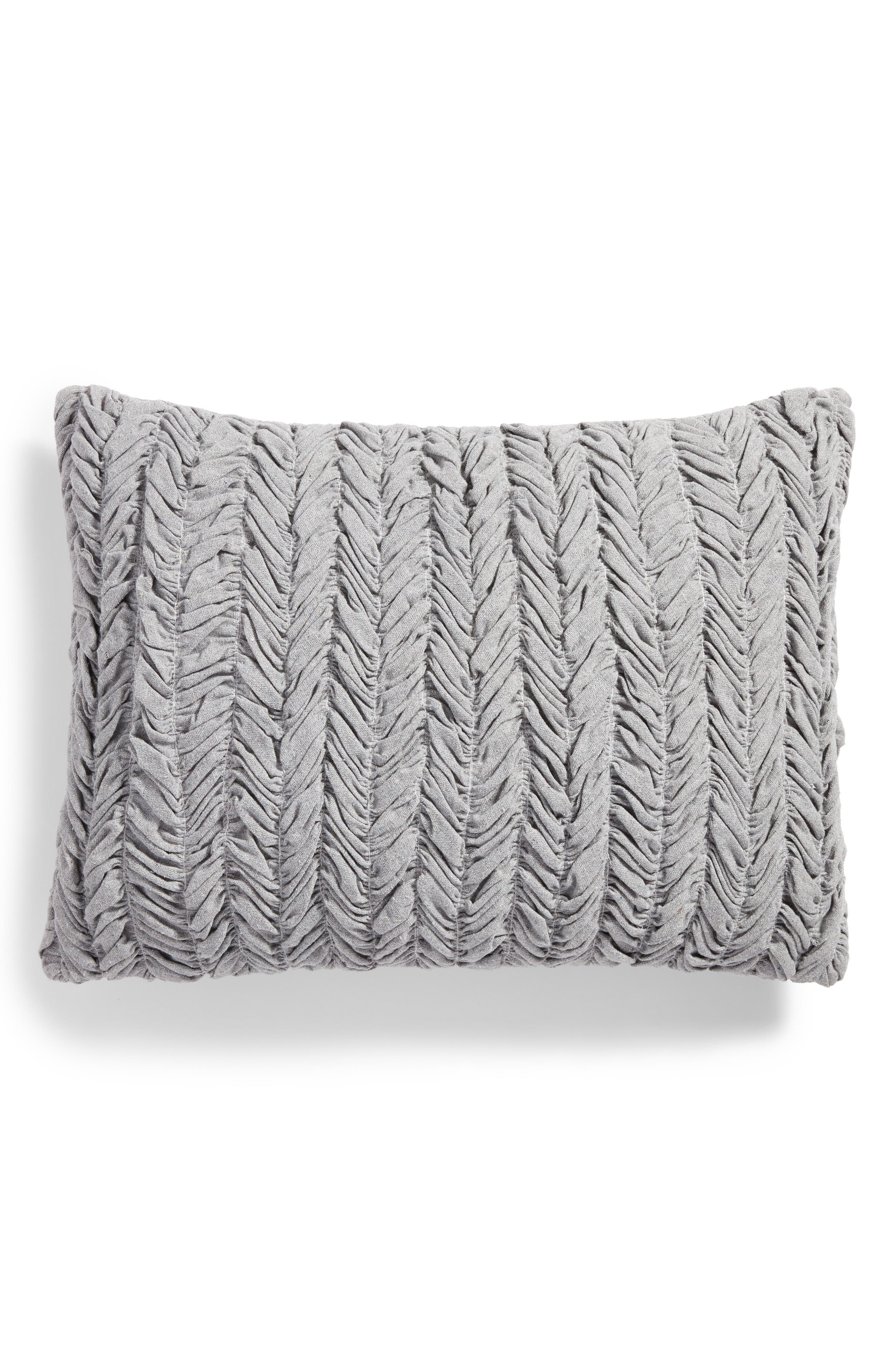 Remie Ruched Accent Pillow,                             Main thumbnail 1, color,                             Grey