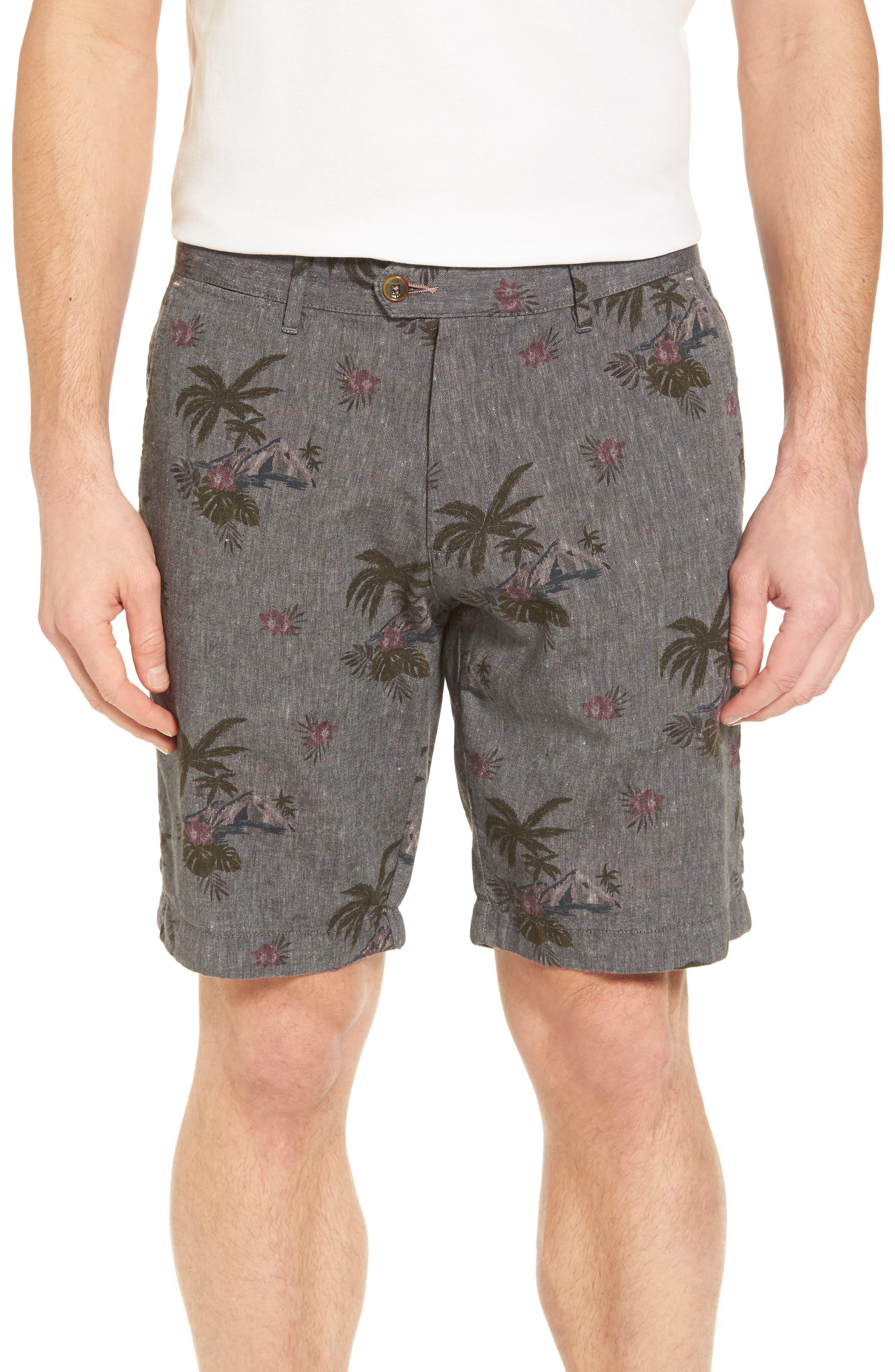 Ted Baker London Tropis Print Cotton Shorts