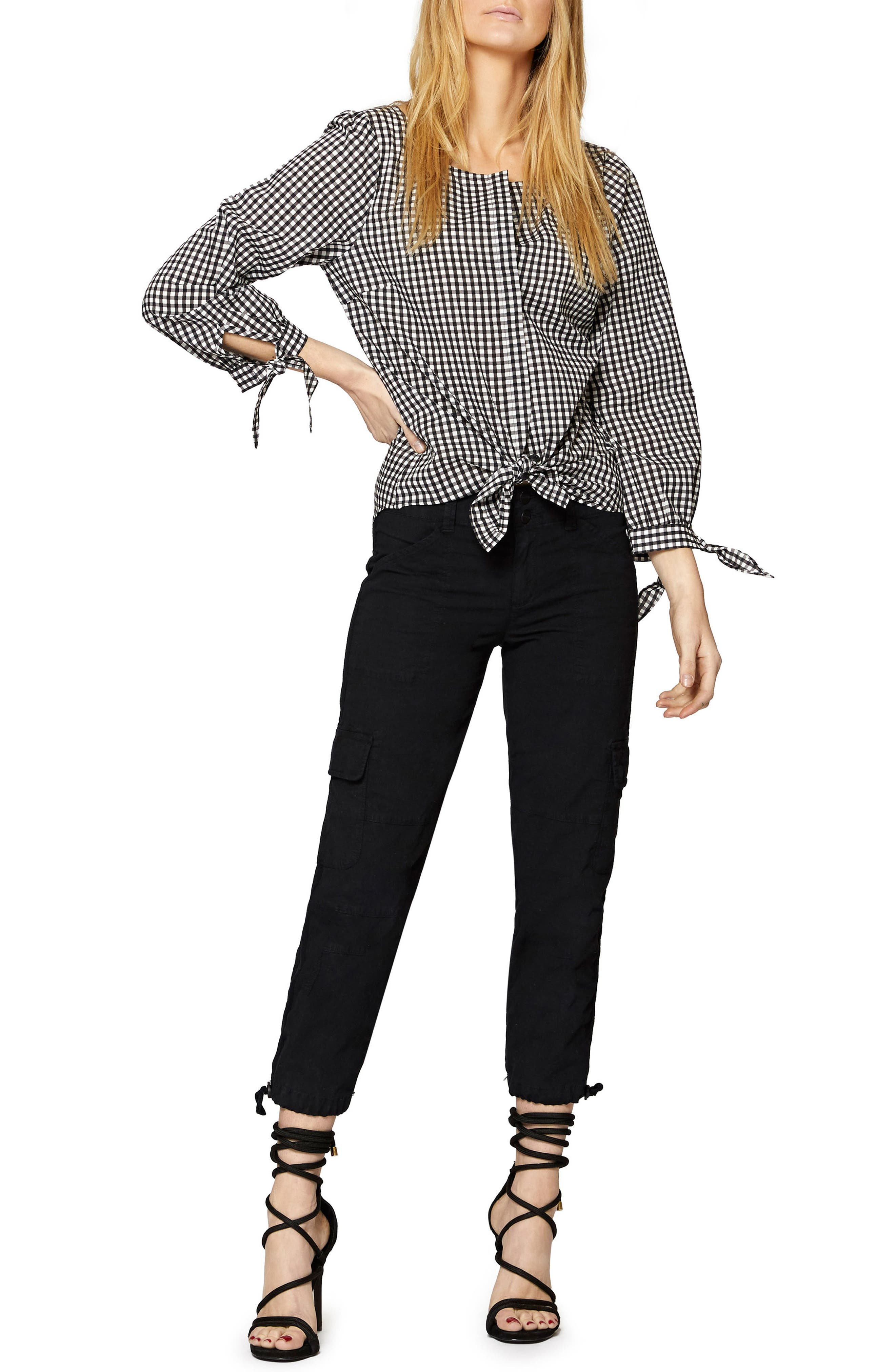 Madie Tie Sleeve Blouse,                             Alternate thumbnail 3, color,                             Bistro Check