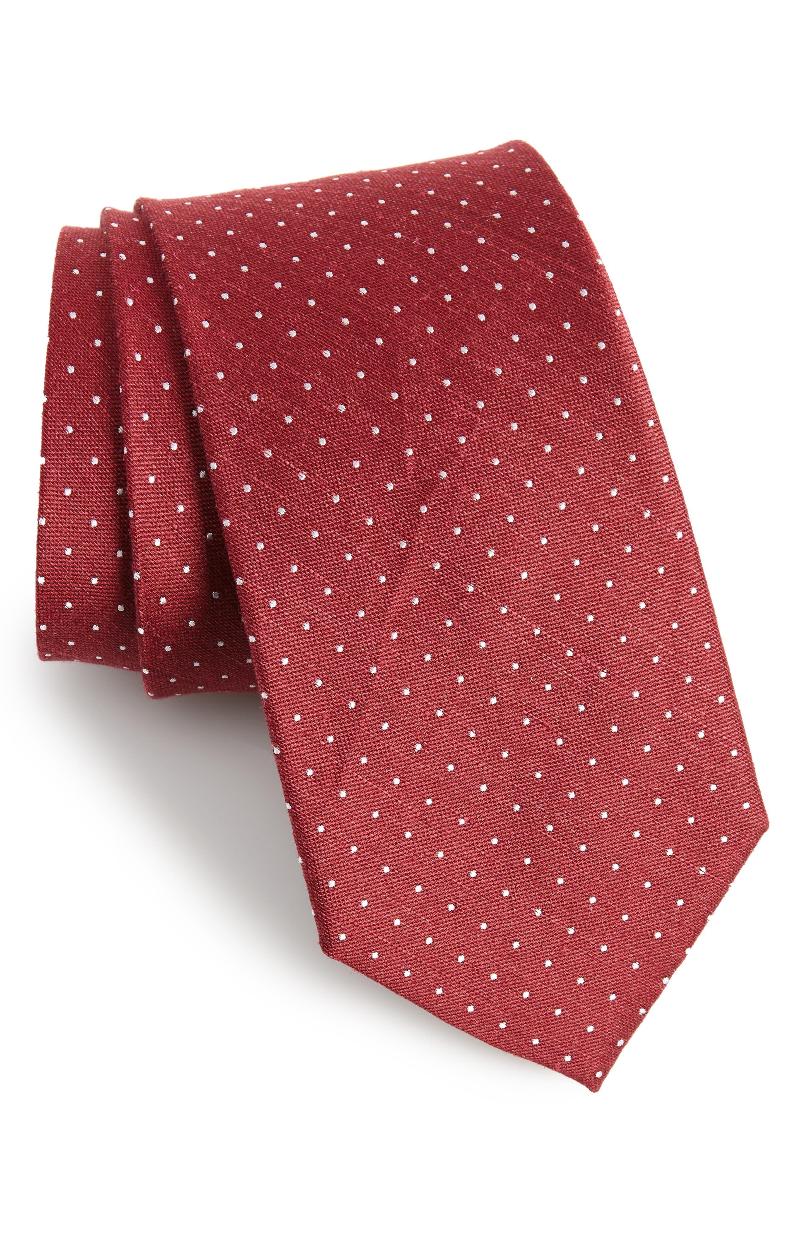 Dot Silk & Linen Tie,                         Main,                         color, Burgundy