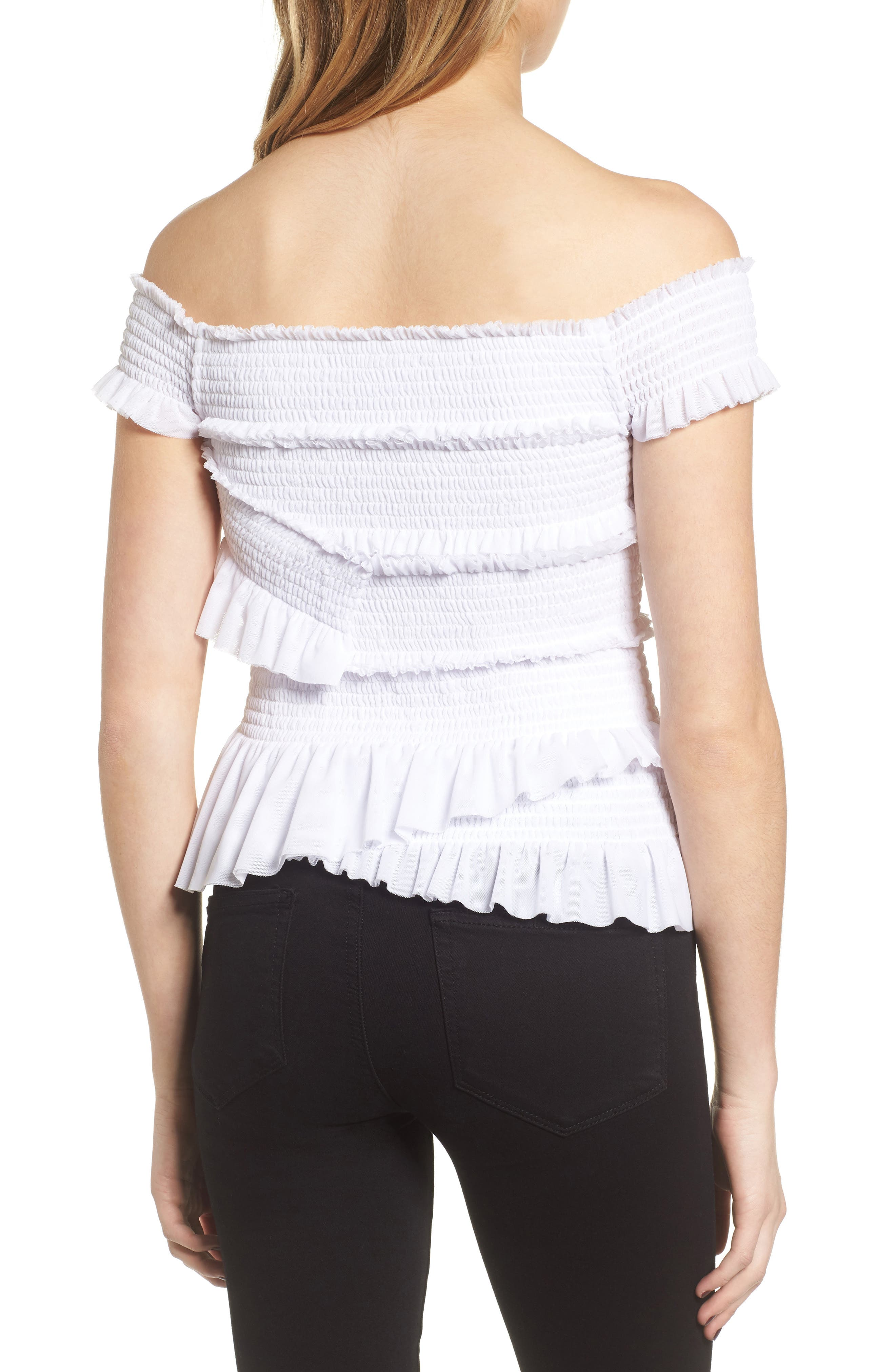 Smocked Ruffle Off the Shoulder Top,                             Alternate thumbnail 2, color,                             White