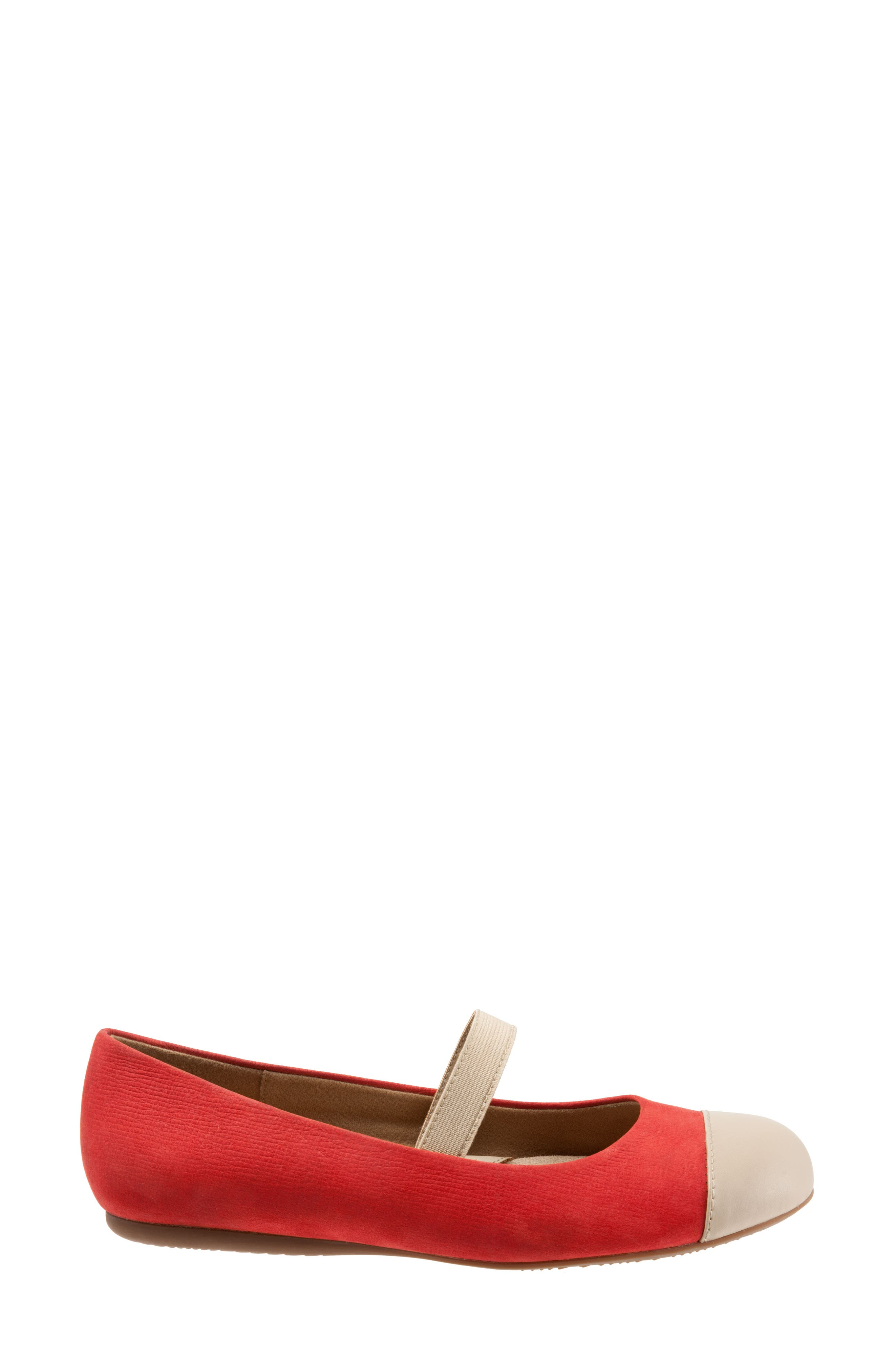 Napa Mary Jane Flat,                             Alternate thumbnail 3, color,                             Red/ Nude Leather