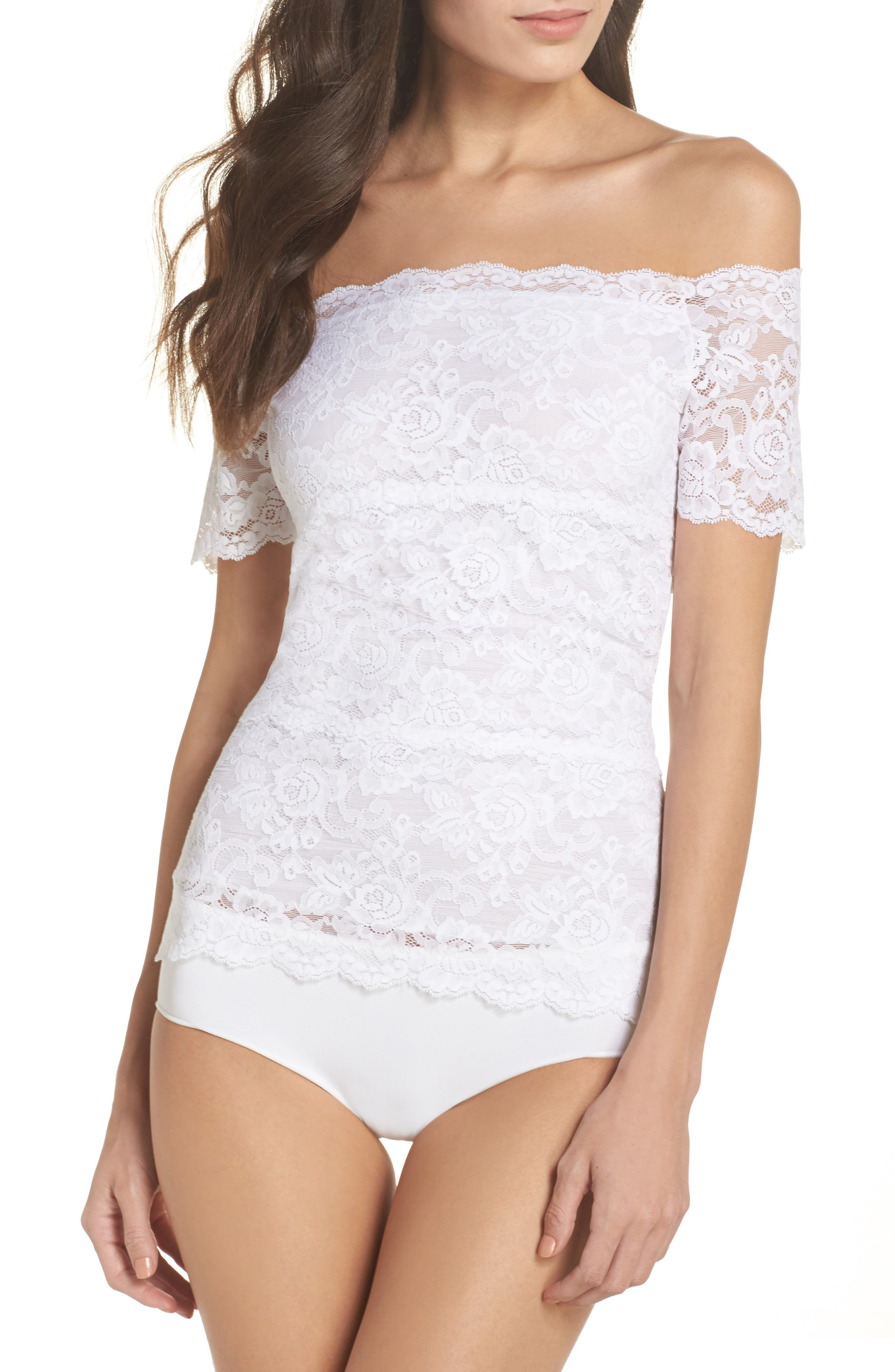 Evelyn Off the Shoulder Lace Top,                         Main,                         color, White