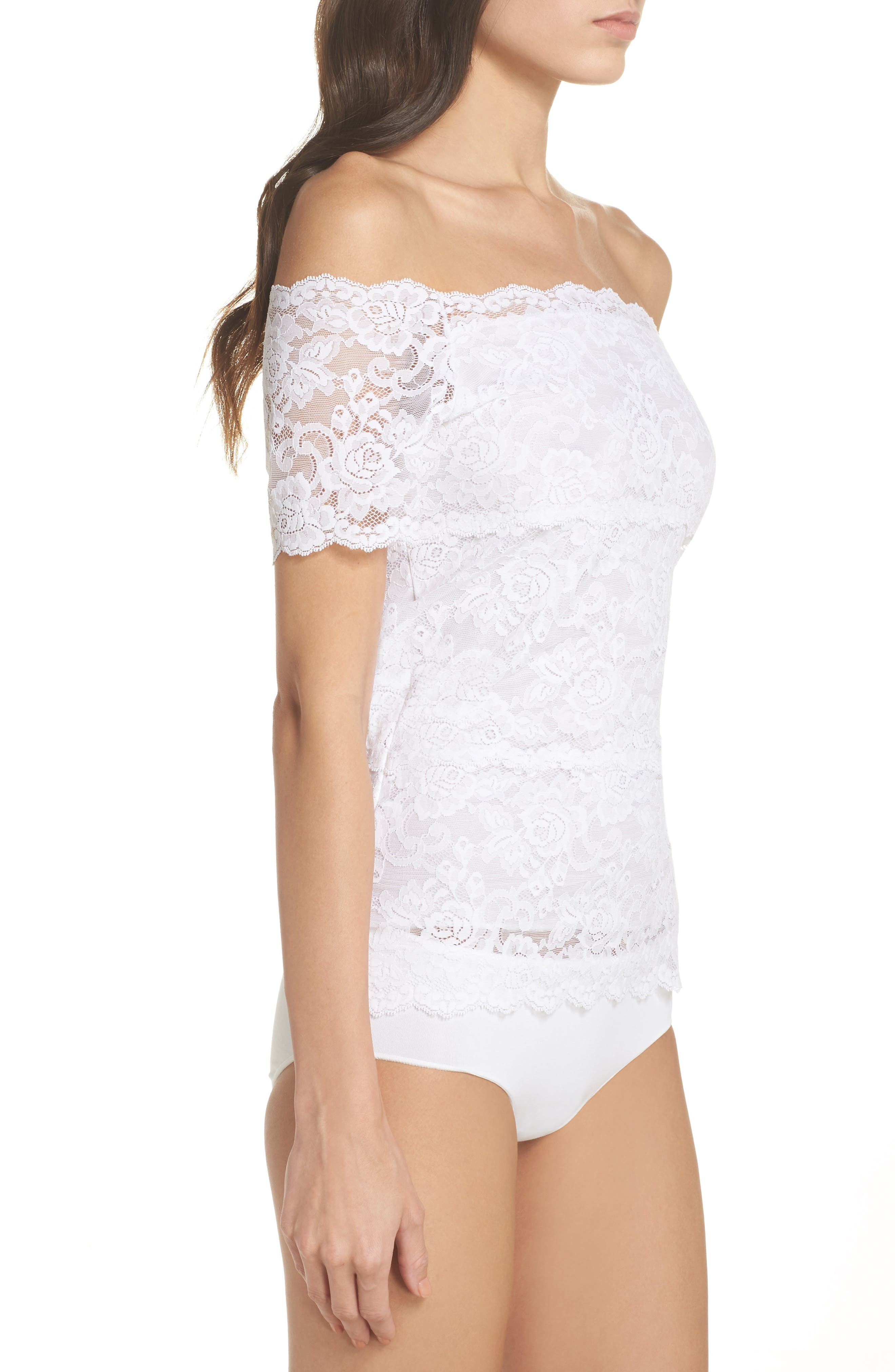 Evelyn Off the Shoulder Lace Top,                             Alternate thumbnail 3, color,                             White