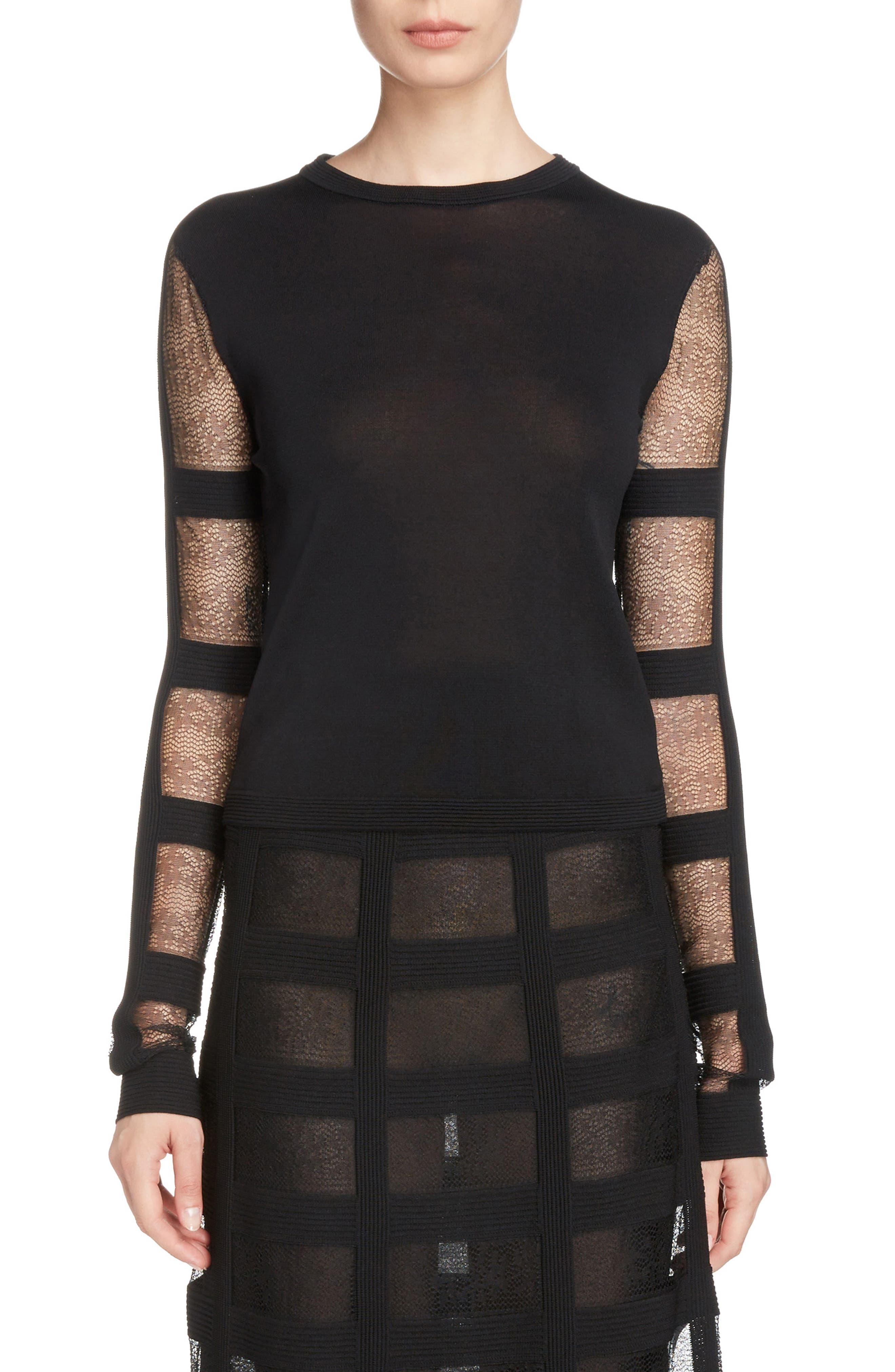 Sheer Stripe Sweater,                         Main,                         color, Black