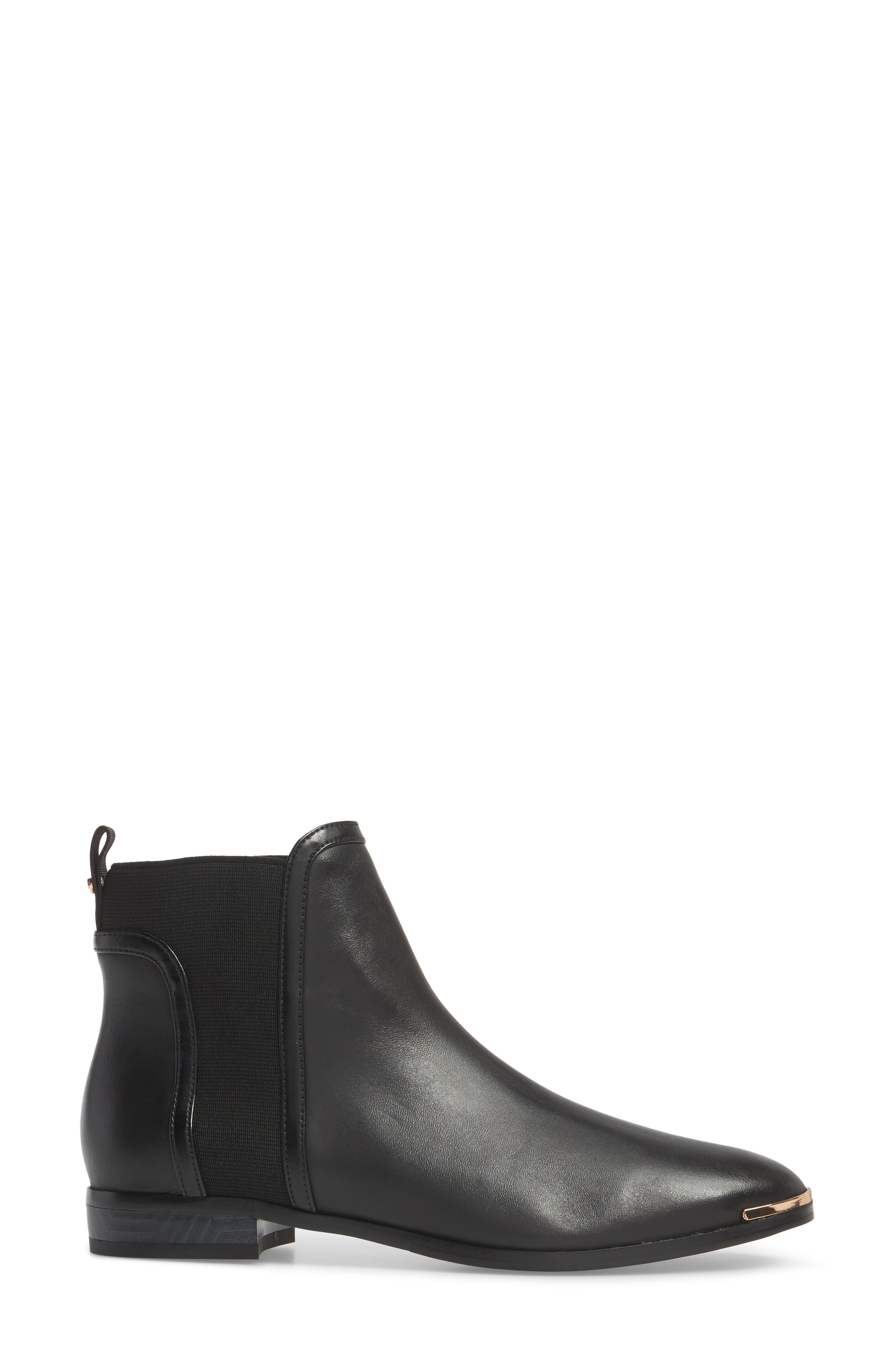 Kerei Chelsea Boot,                             Alternate thumbnail 3, color,                             Black Leather
