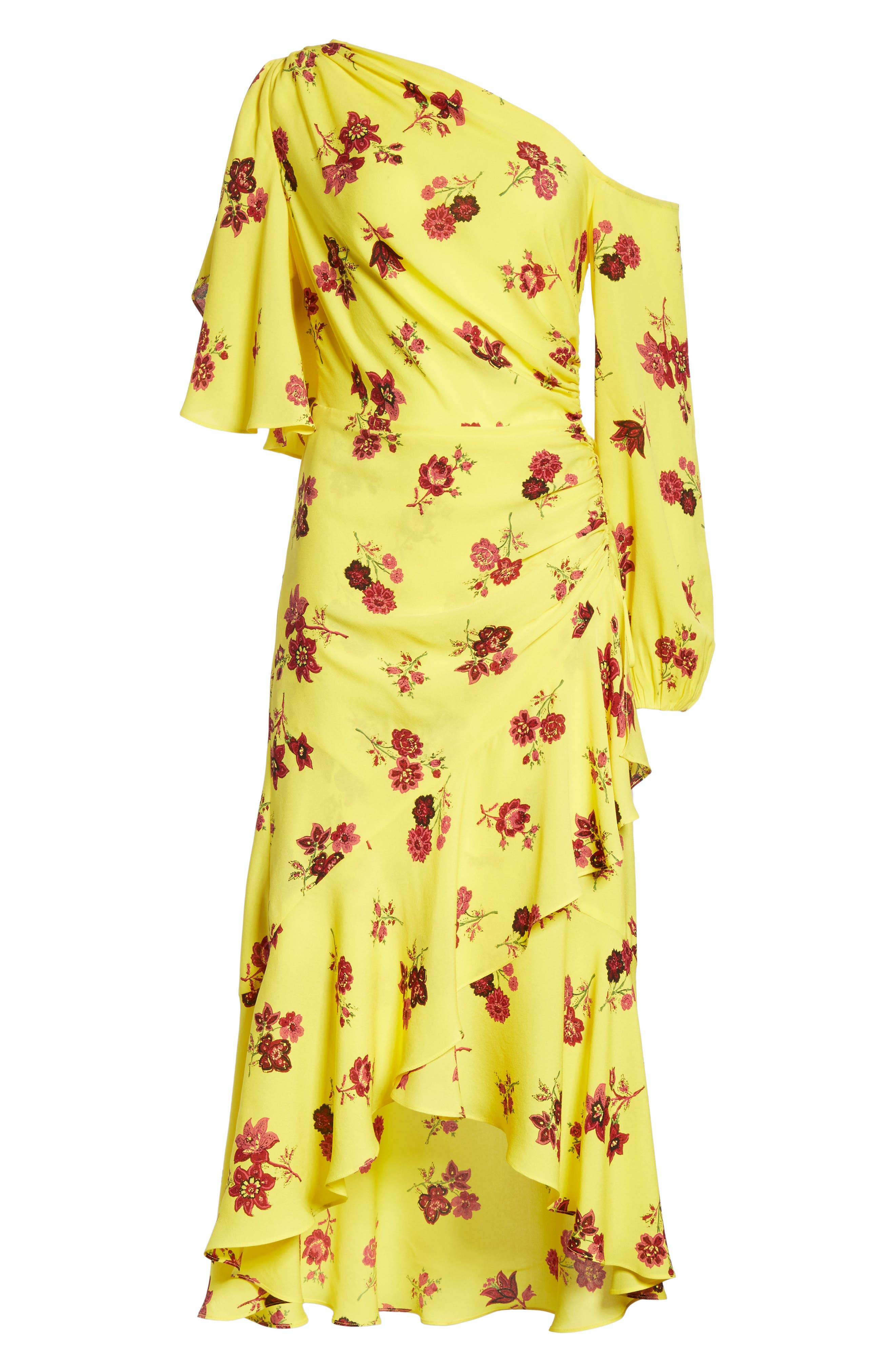 Florence One-Shoulder Silk Dress,                             Alternate thumbnail 7, color,                             Yellow