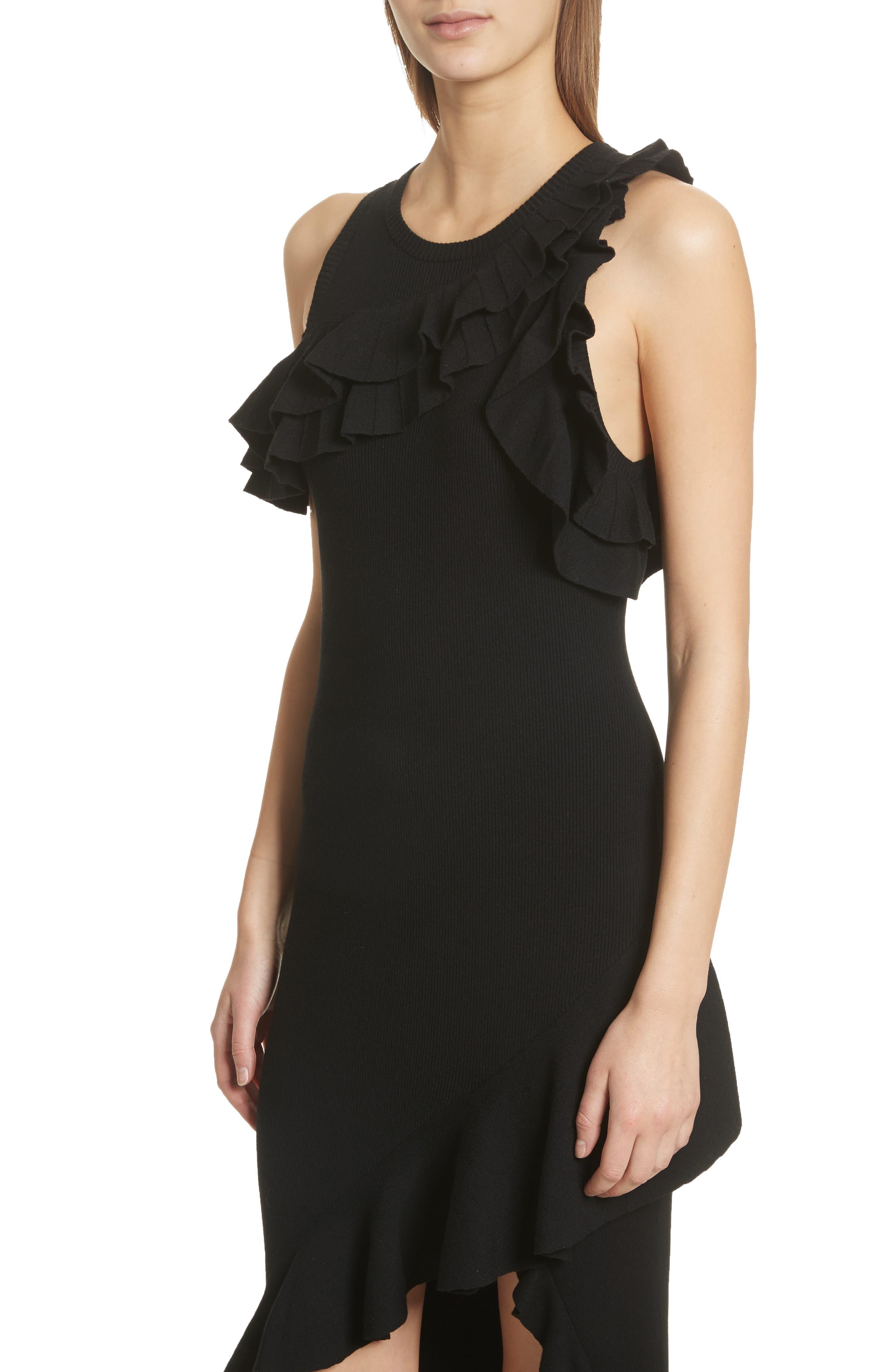 Kellam Ruffle Body-Con Dress,                             Alternate thumbnail 4, color,                             Black