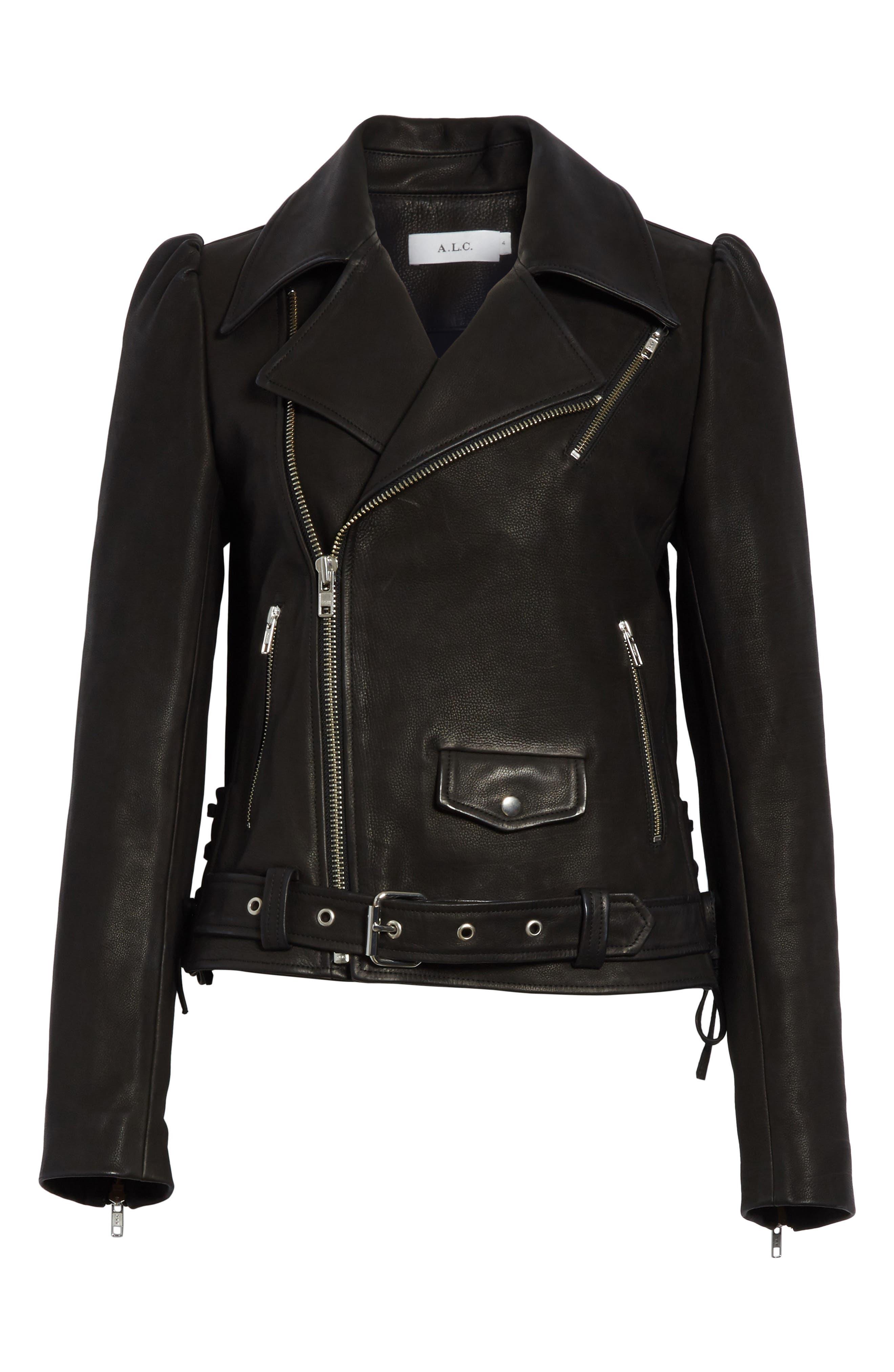 Calix Puff Shoulder Leather Moto Jacket,                             Alternate thumbnail 7, color,                             Black