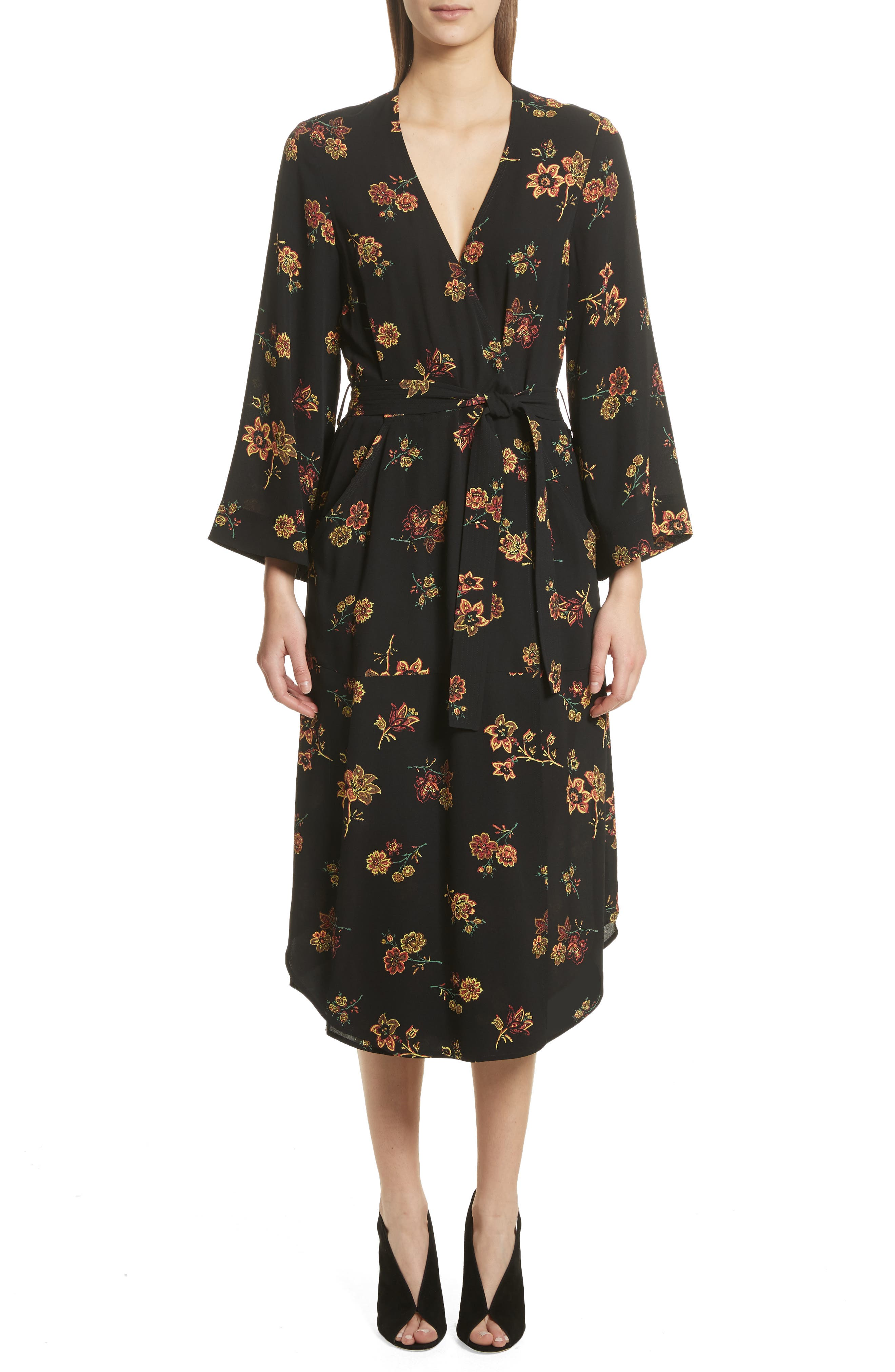 Wilma Silk Wrap Dress,                         Main,                         color, Black
