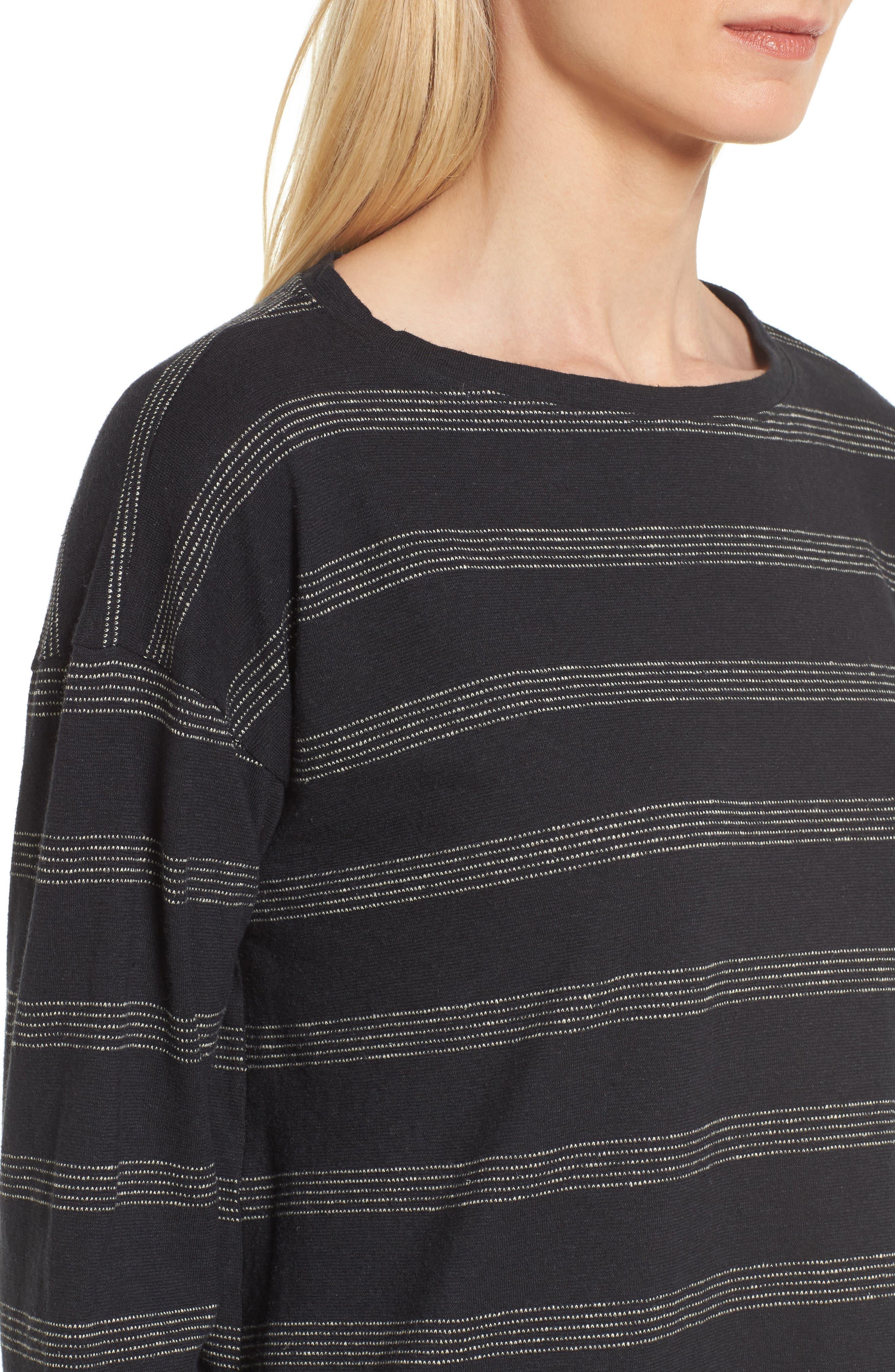 Stripe Hemp & Organic Cotton Top,                             Alternate thumbnail 4, color,                             Black