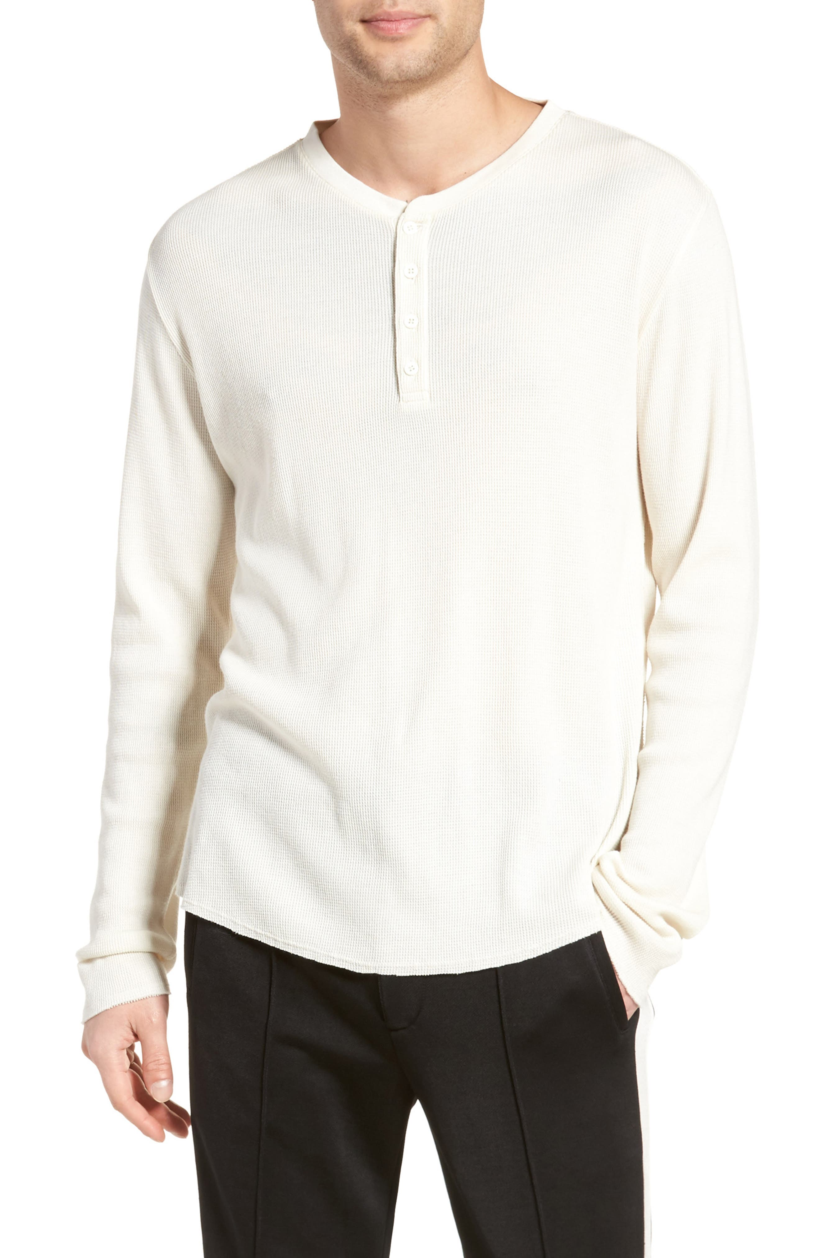 Thermal Knit Long Sleeve Henley T-Shirt,                         Main,                         color, Off White