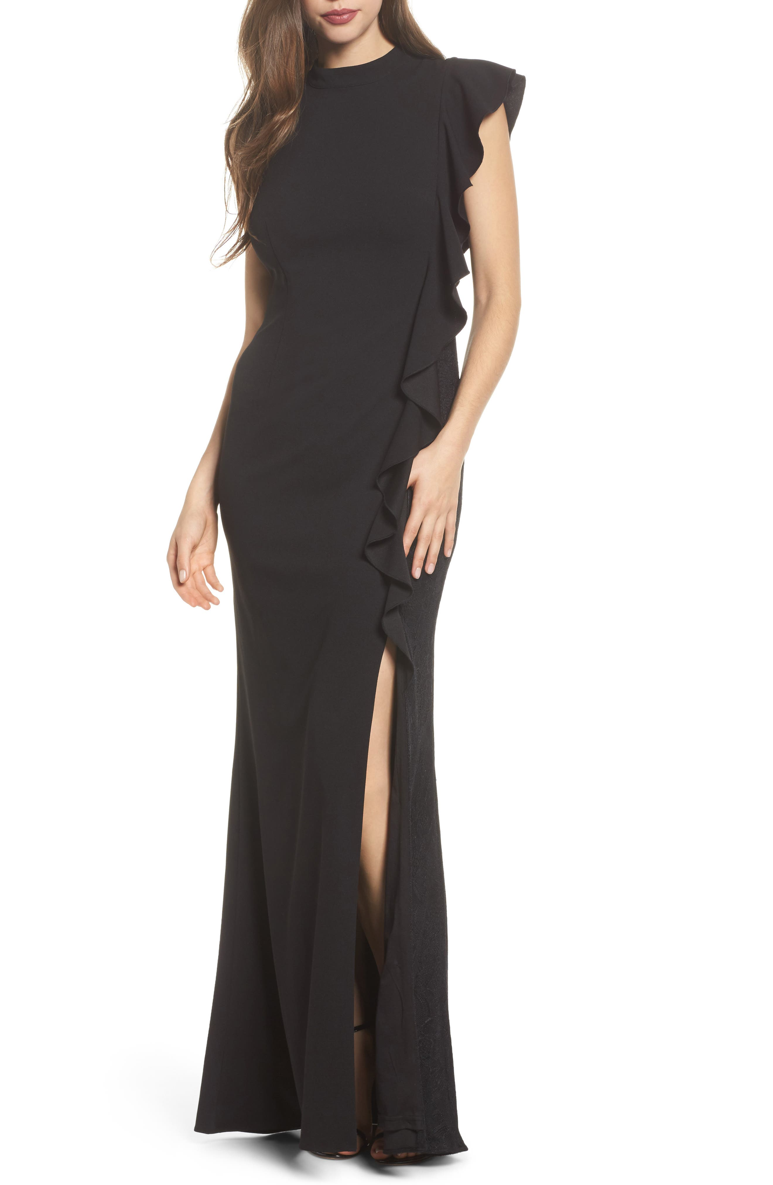 ADRIANNA PAPELL RUFFLE SIDE CREPE MERMAID GOWN, BLACK | ModeSens