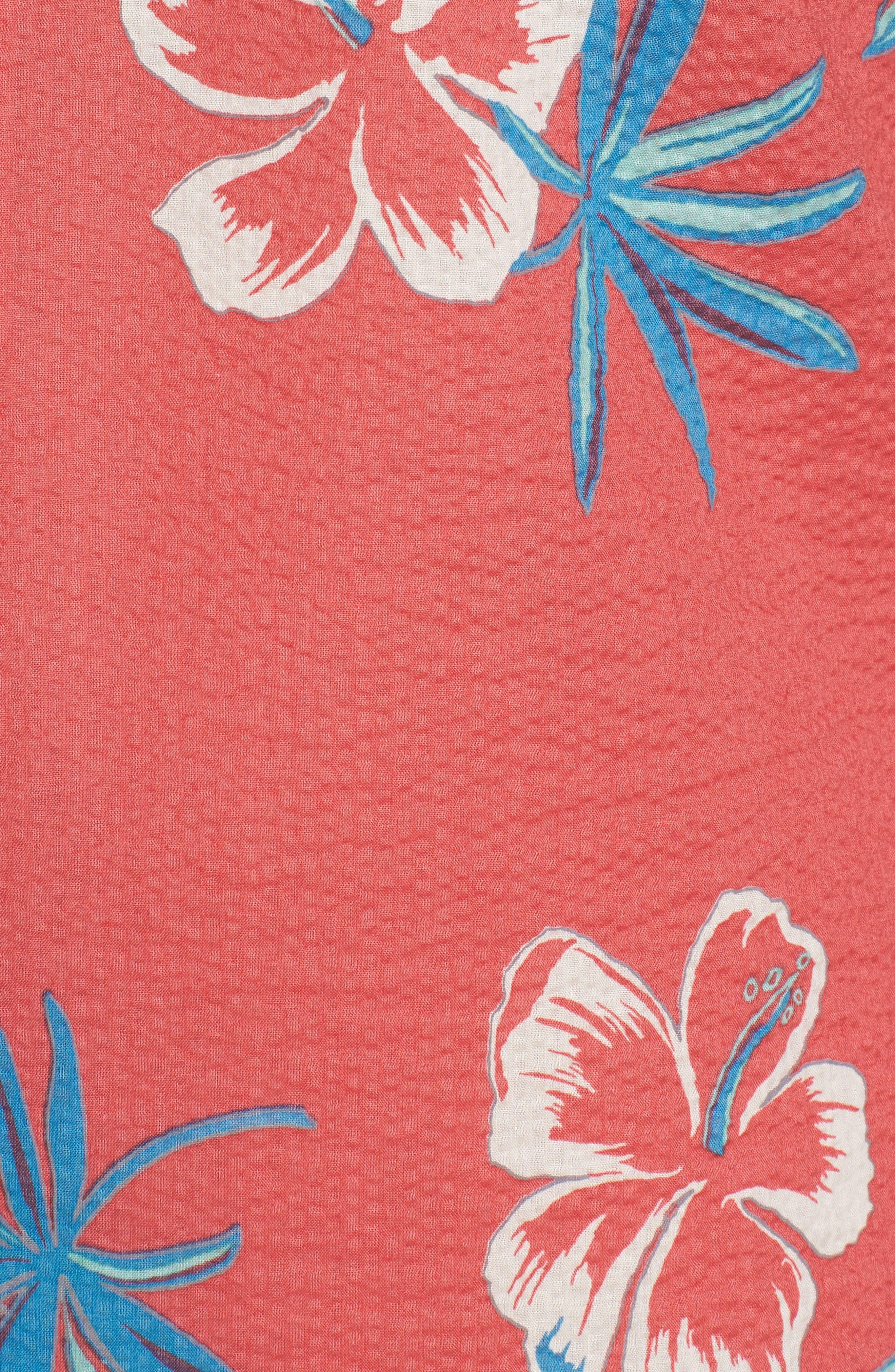 So Fresh Trim Fit Cotton Lawn Sport Shirt,                             Alternate thumbnail 5, color,                             Guava