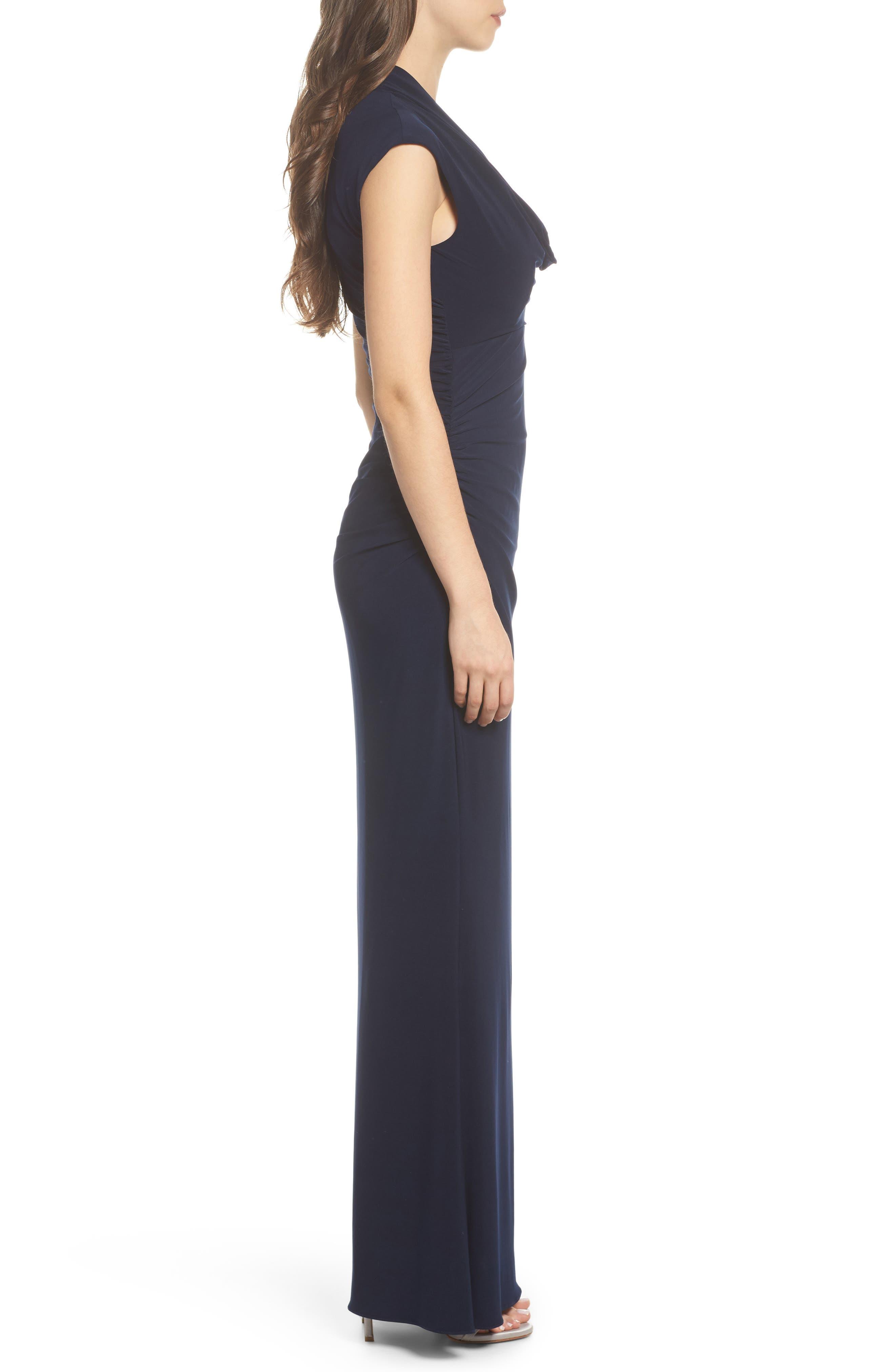 Draped Jersey Maxi Dress,                             Alternate thumbnail 3, color,                             Midnight