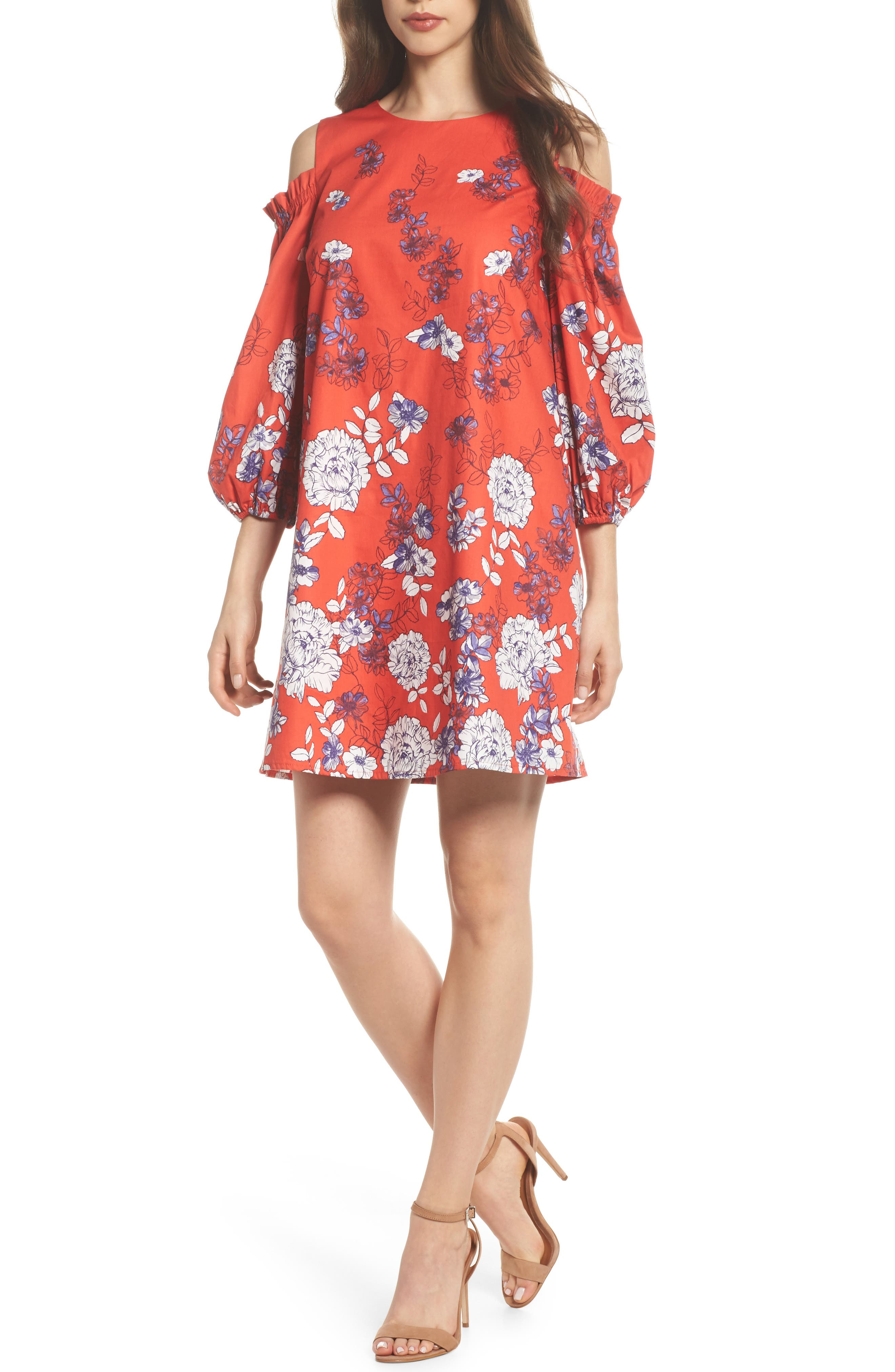 Print Sateen Cold Shoulder Shift Dress,                         Main,                         color, Red/ Blue