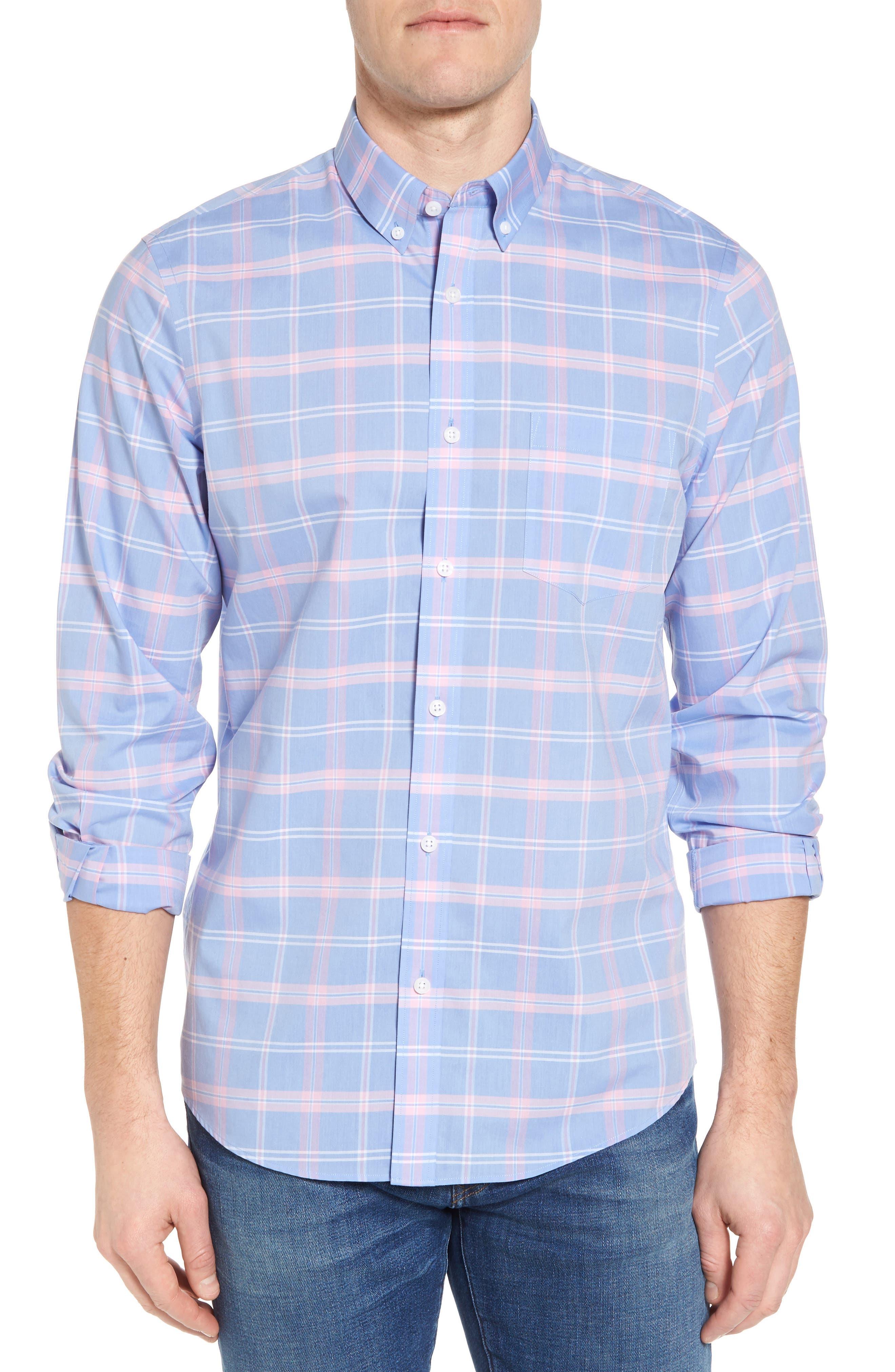 Smartcare<sup>™</sup> Regular Fit Plaid Sport Shirt,                         Main,                         color, Blue Dusk Pink Plaid