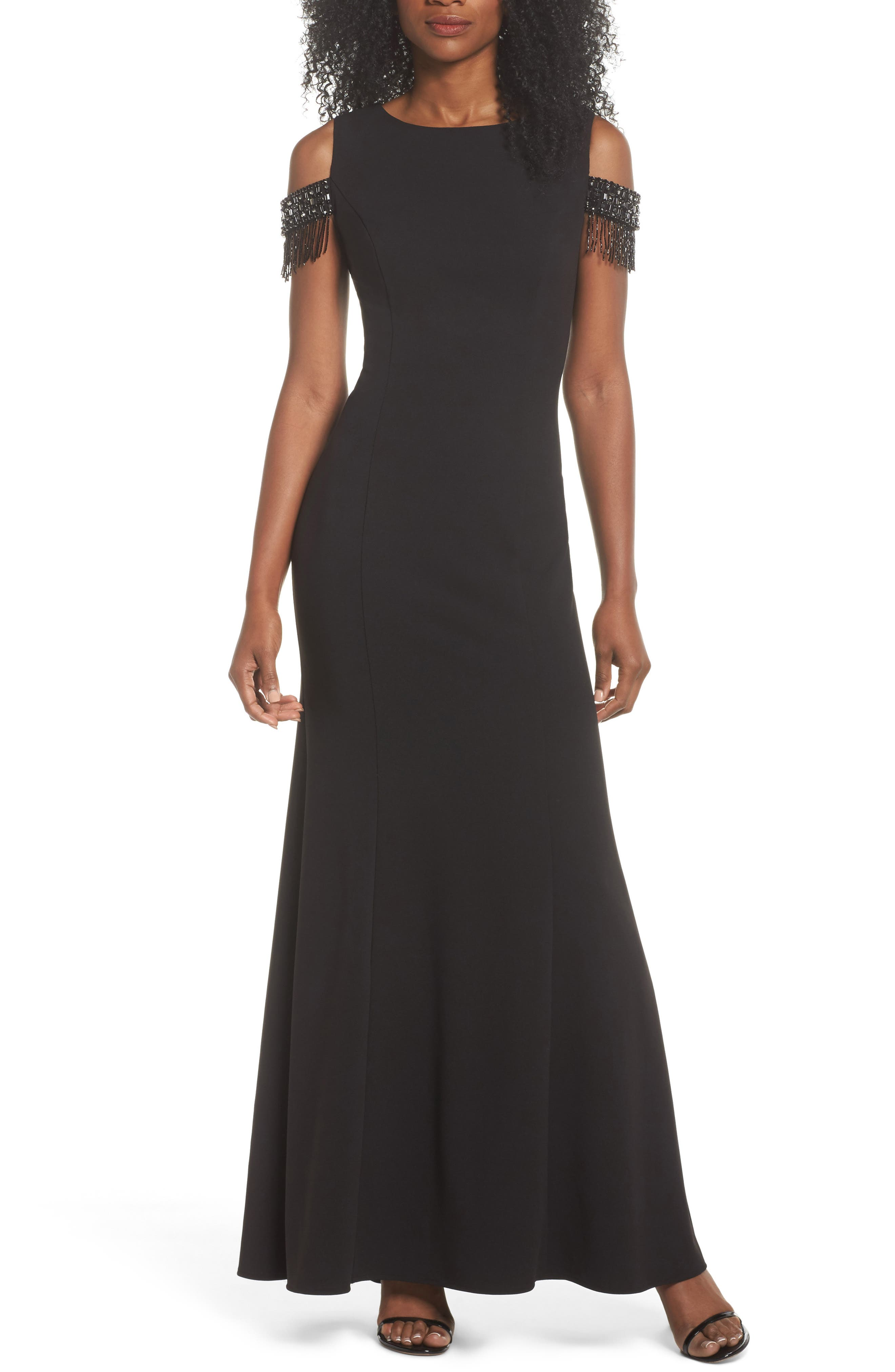 Beaded Sleeve Cold Shoulder Gown,                         Main,                         color, Black