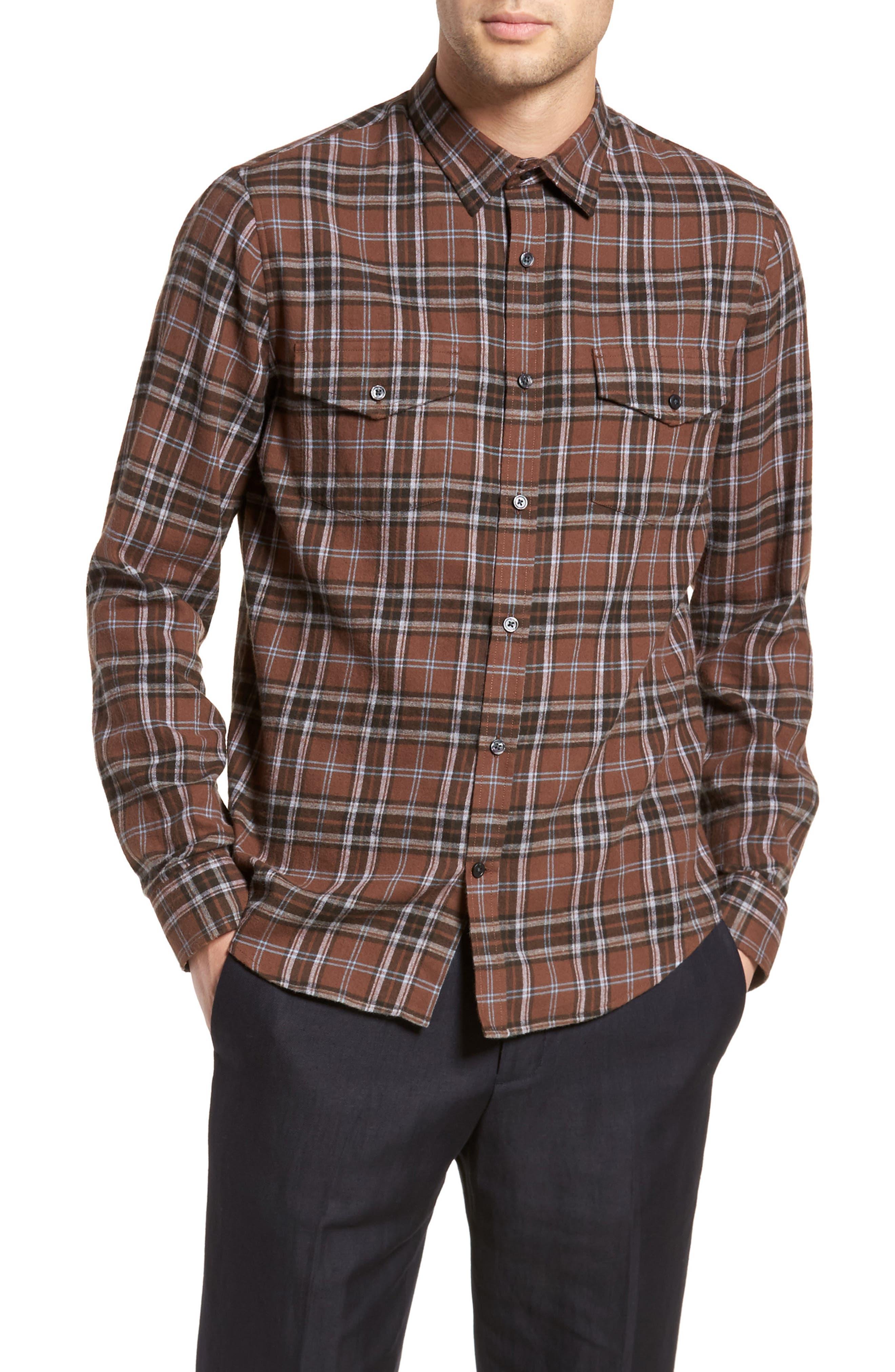 Regular Fit Plaid Sport Shirt,                         Main,                         color, Dark Henna