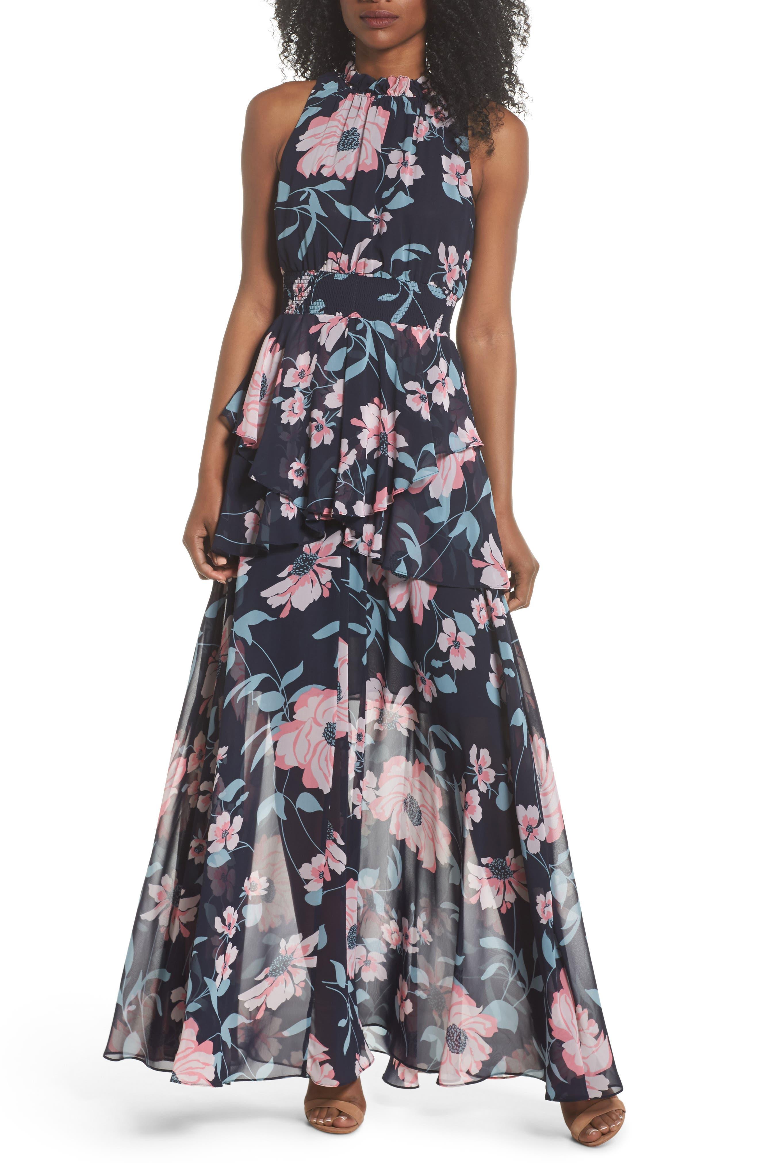 Floral Maxi Dress,                         Main,                         color, Navy