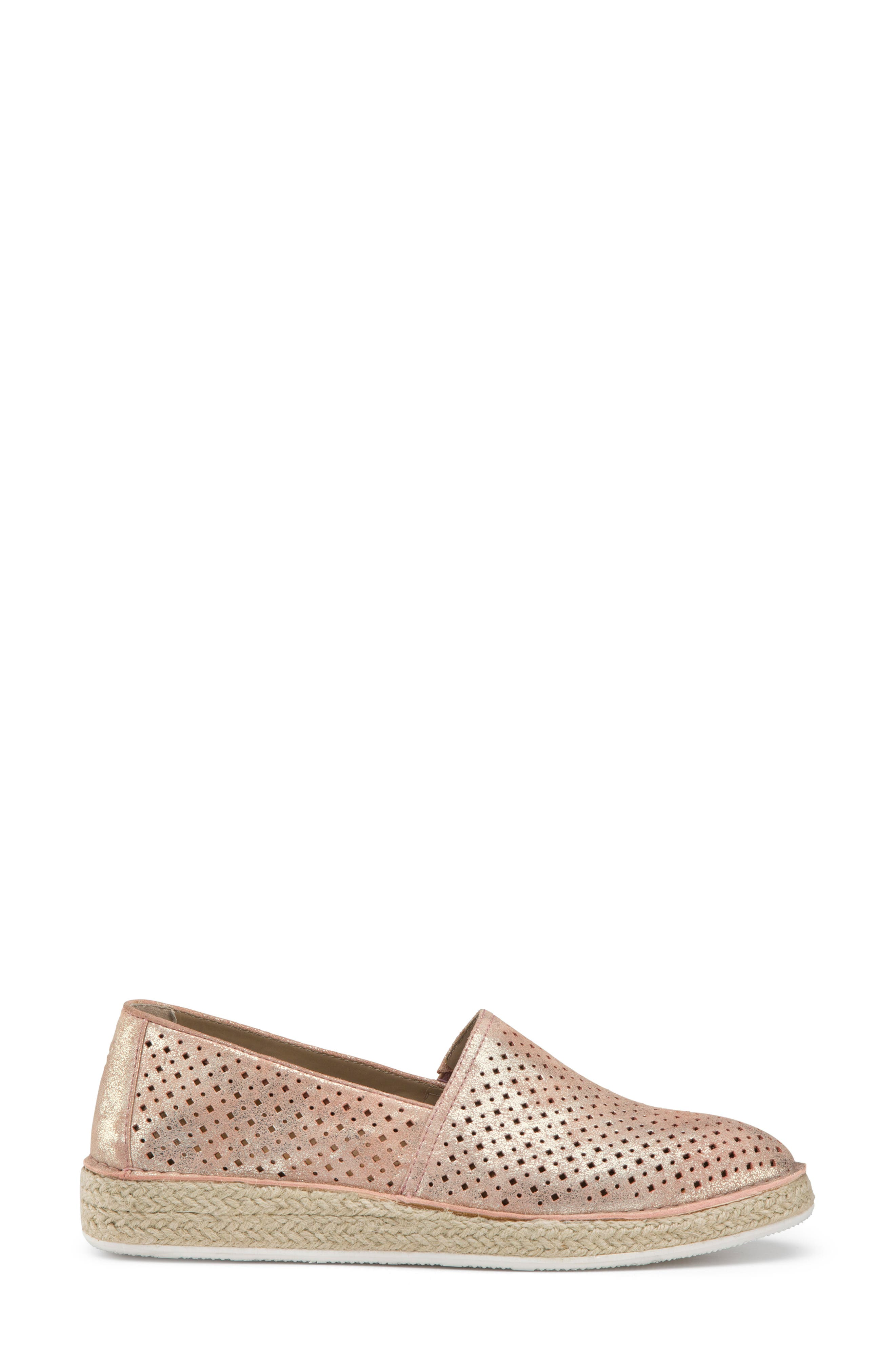 Paige Perforated Flat,                             Alternate thumbnail 3, color,                             Blush Metallic Suede