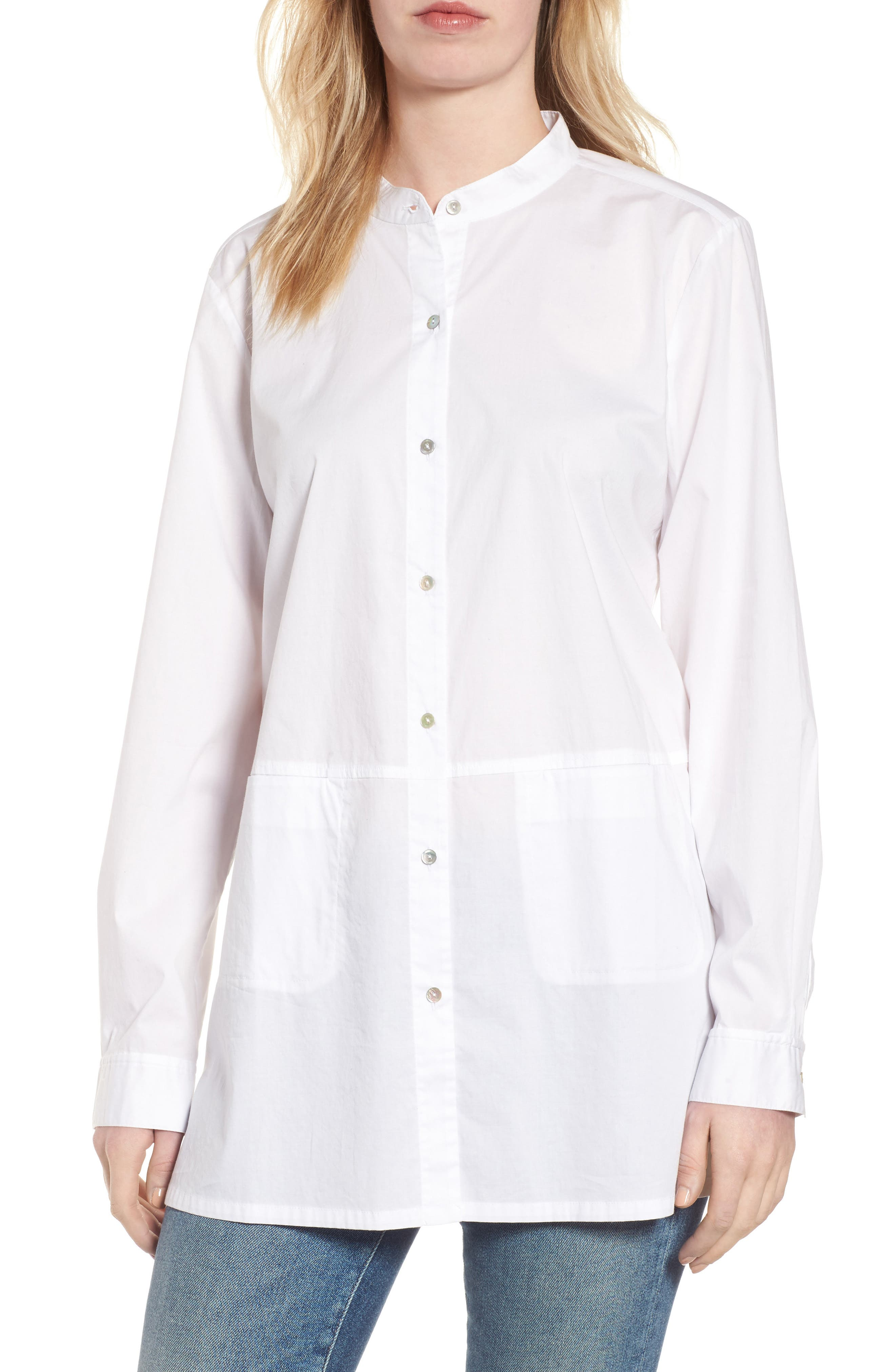 Alternate Image 1 Selected - Eileen Fisher Stretch Organic Cotton Shirt