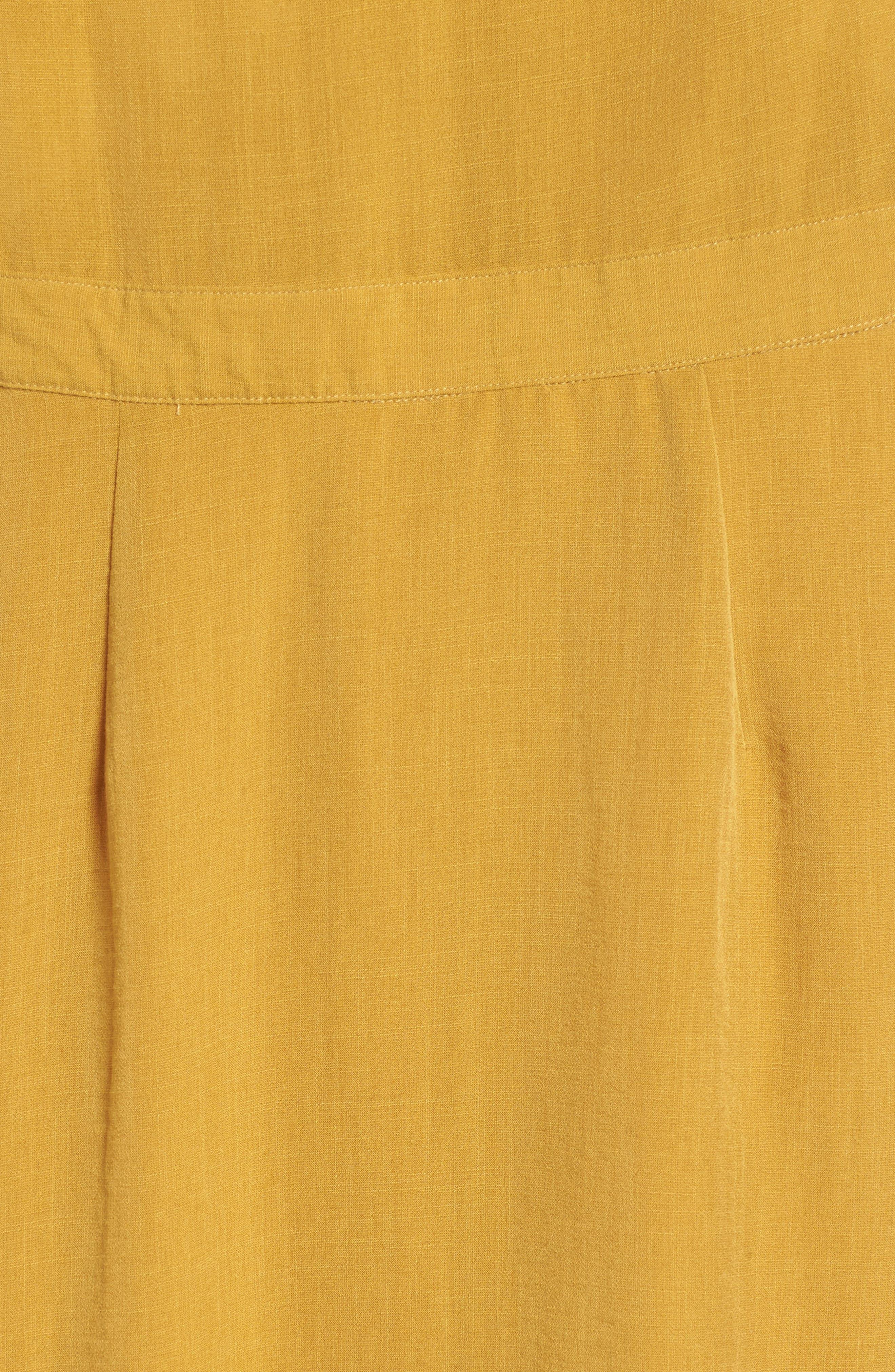 Poppy Button Front Midi Dress,                             Alternate thumbnail 6, color,                             Mustard
