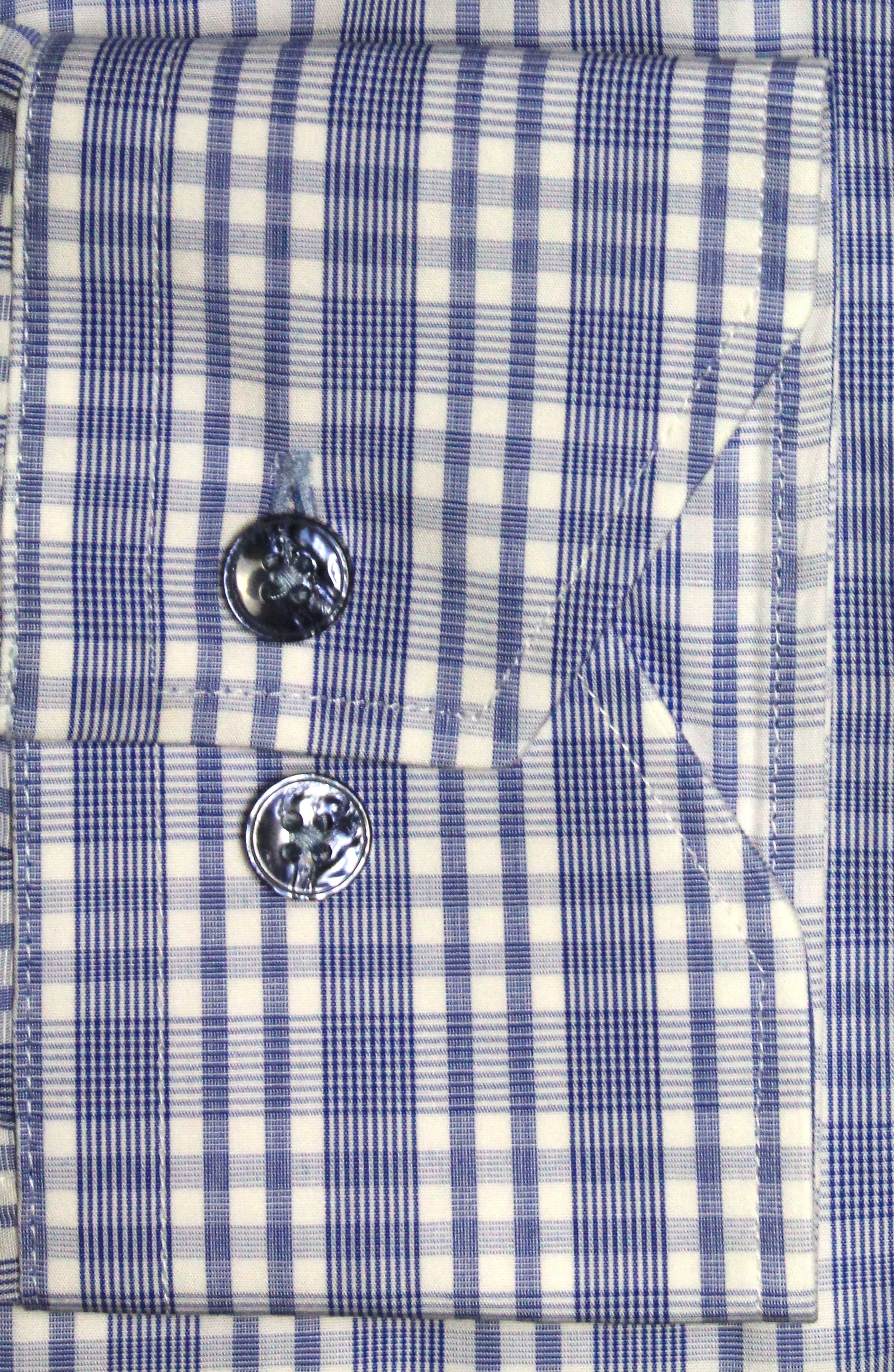 Trim Fit Plaid Dress Shirt,                             Alternate thumbnail 2, color,                             Light Blue