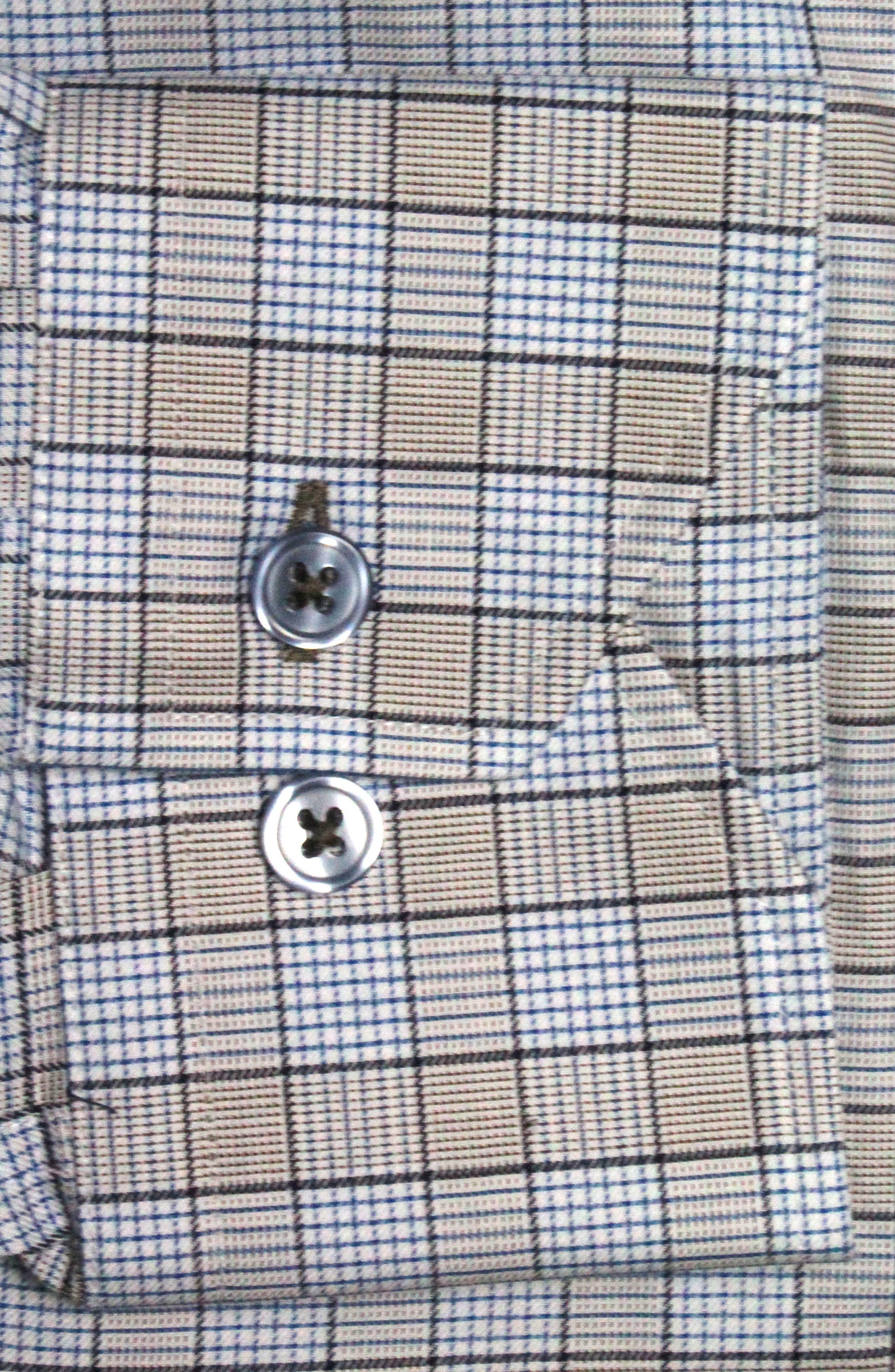 Trim Fit Box Check Dress Shirt,                             Alternate thumbnail 2, color,                             Tan/ Light Blue