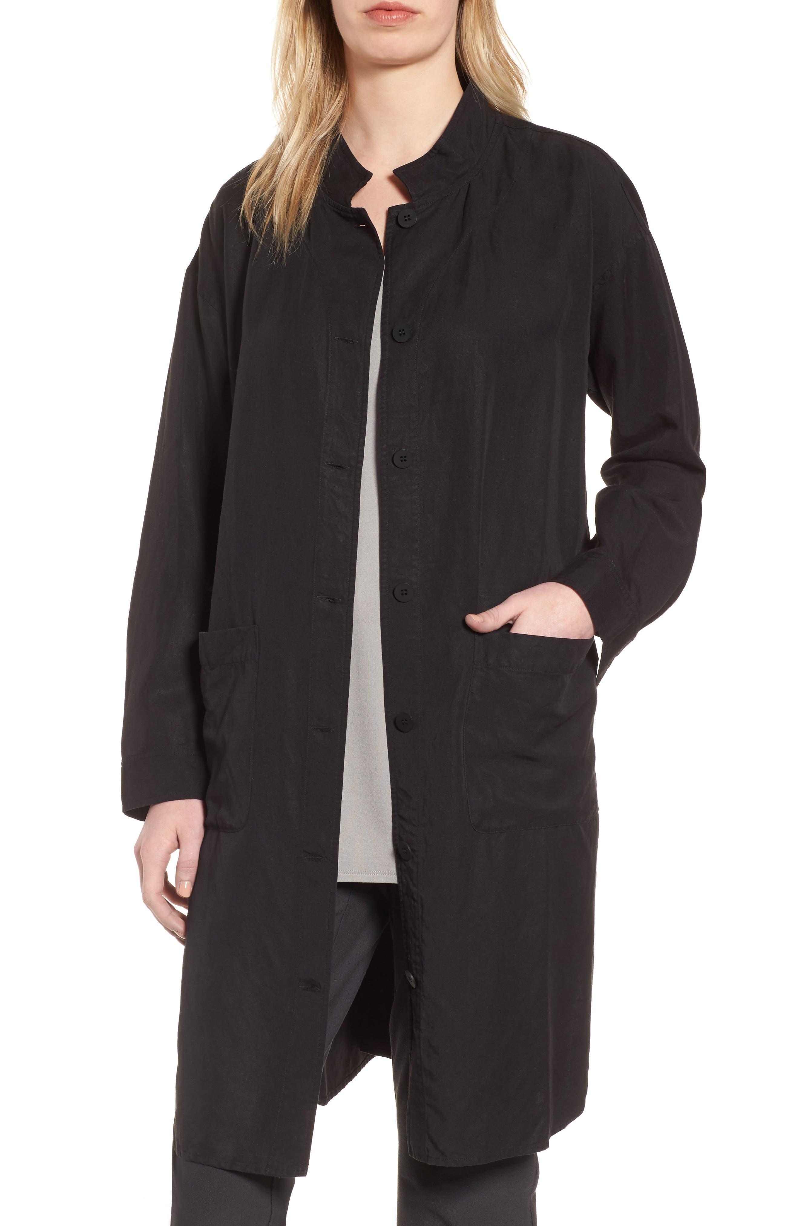 Eileen Fisher Long Tencel® & Linen Jacket (Regular & Petite)